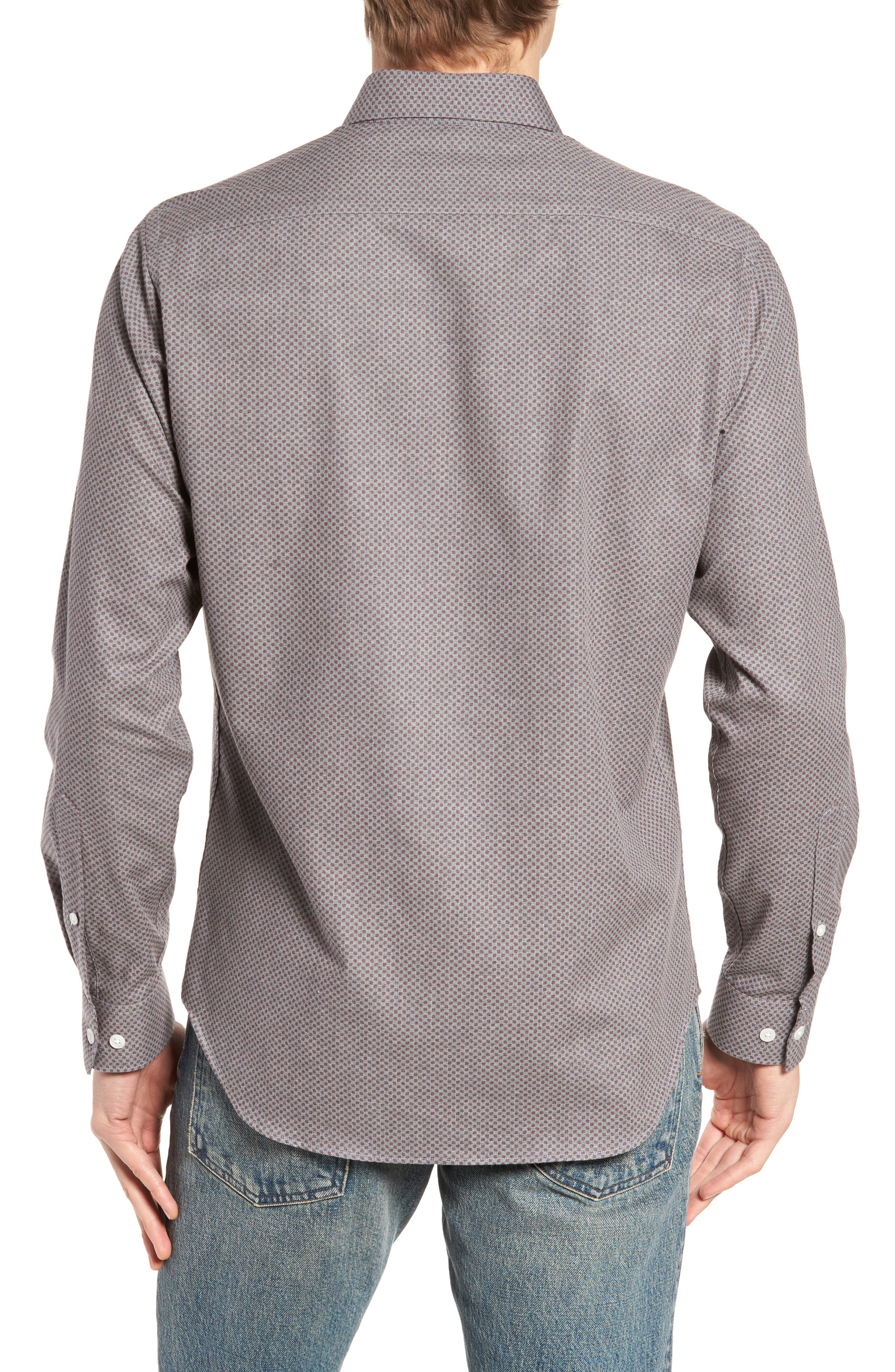 Ludlow Slim Fit Flannel Sport Shirt,                             Alternate thumbnail 2, color,                             Grey