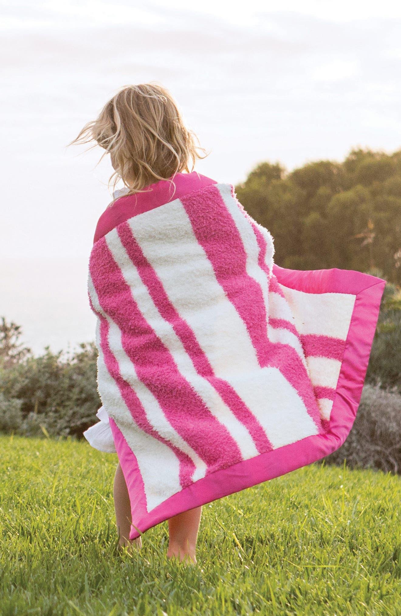 Stripe Chenille Blanket,                             Alternate thumbnail 3, color,                             Raspberry