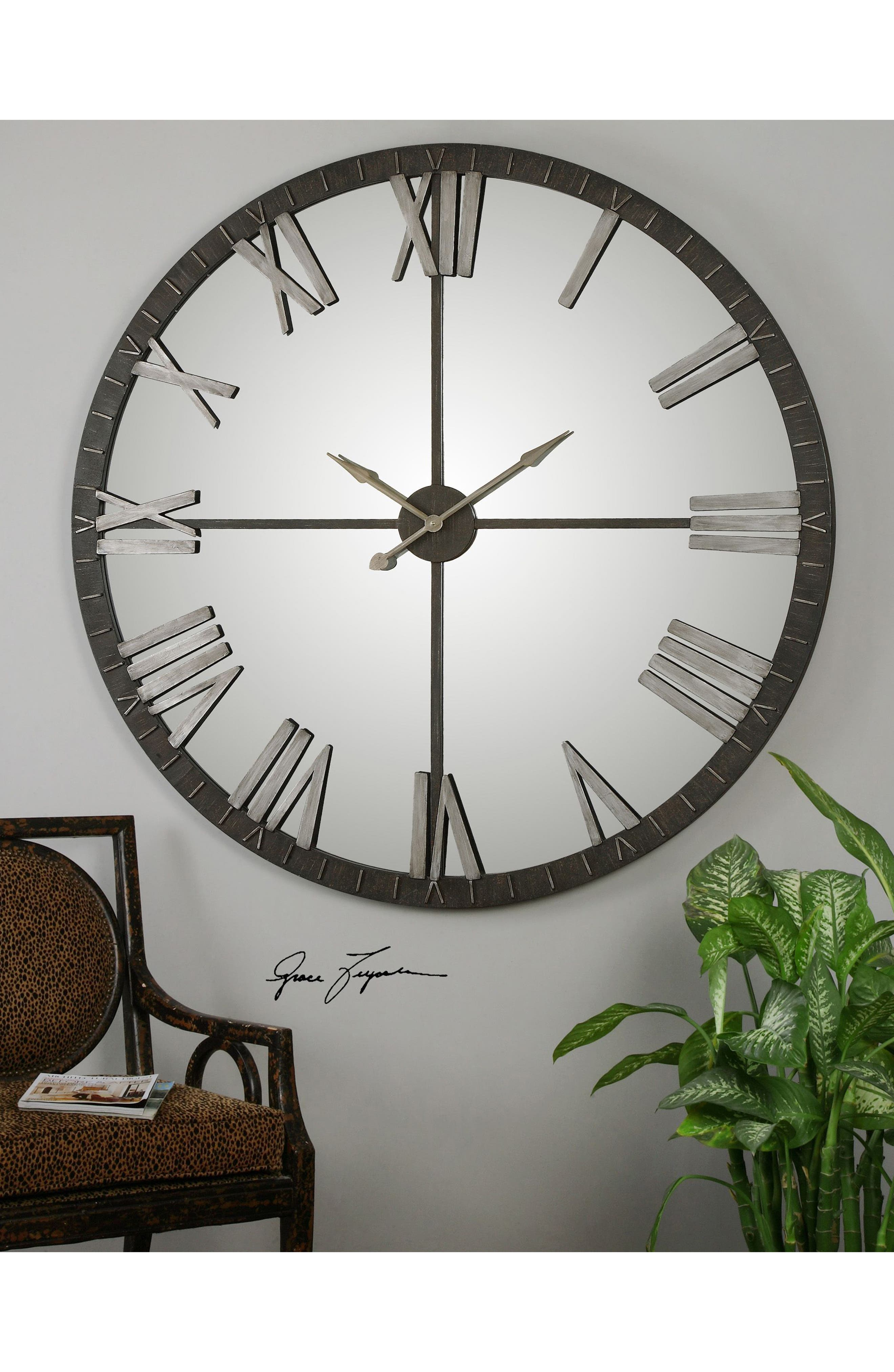 Amelie Wall Clock,                             Alternate thumbnail 2, color,                             Grey