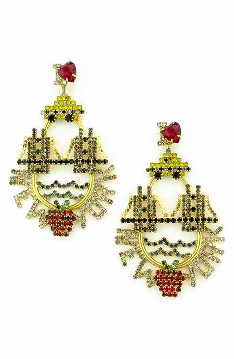 gf jewelry nyc designer crystal in red karen earrings drop by curtis rare swarovski on vintage long
