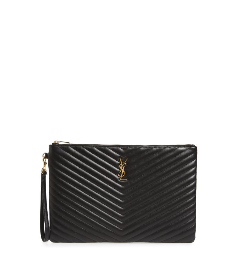 Saint Laurent Large Logo Matelassé Leather Pouch | Nordstrom