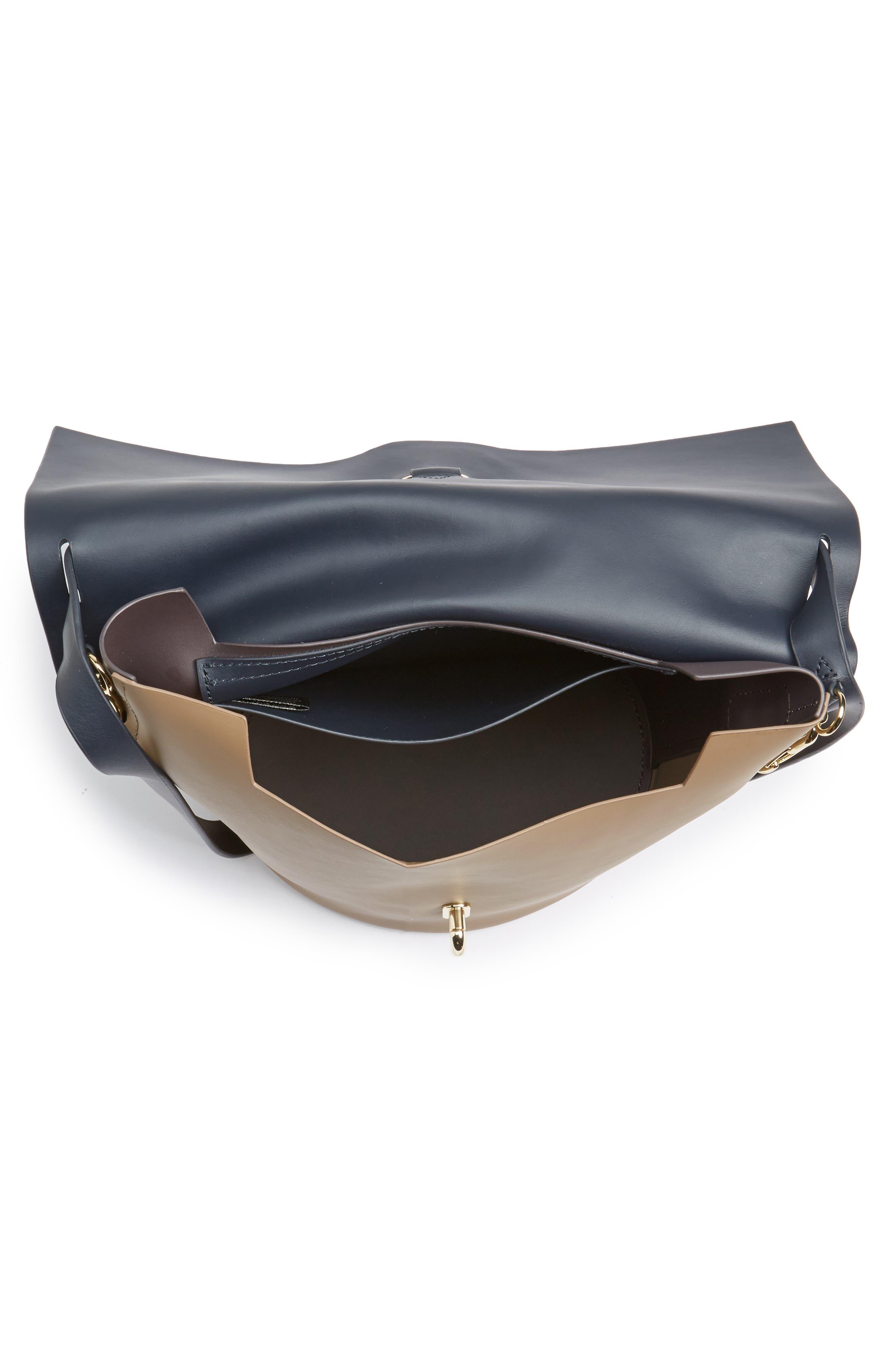 Belay Colorblock Calfskin Leather Bucket Bag,                             Alternate thumbnail 4, color,                             Navy Color Block