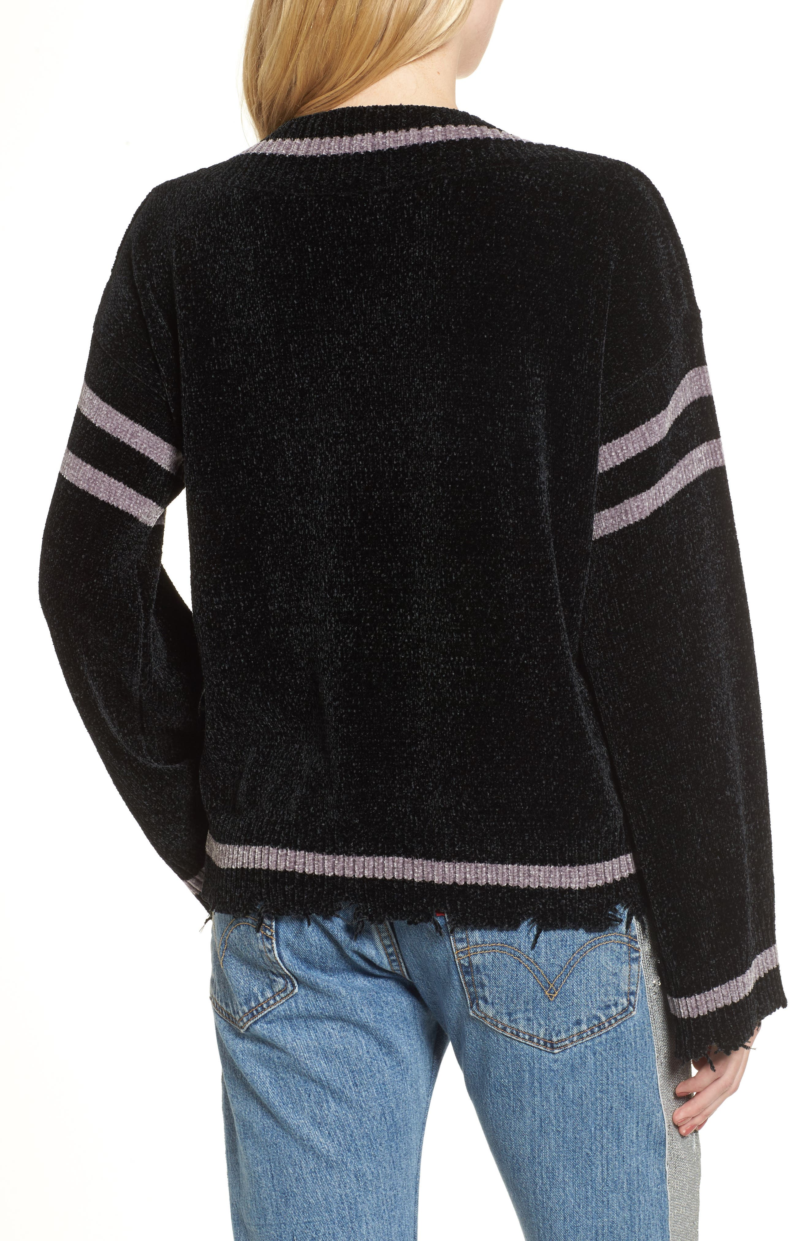 Oversize V-Neck Sweater,                             Alternate thumbnail 2, color,                             Black/ Med. Heather Grey