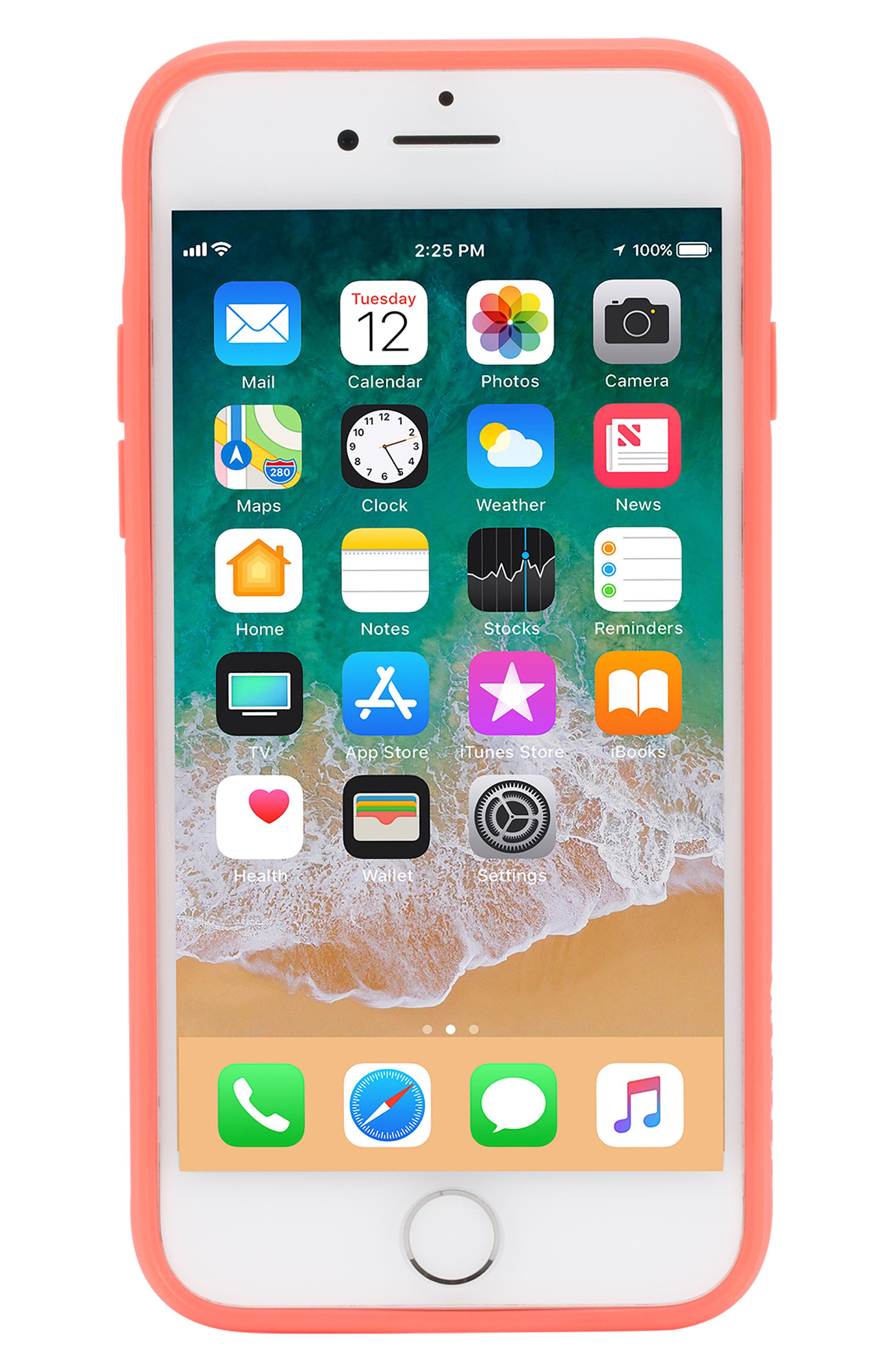 Pop Case Clear iPhone 7/8 Case,                             Alternate thumbnail 6, color,                             Coral