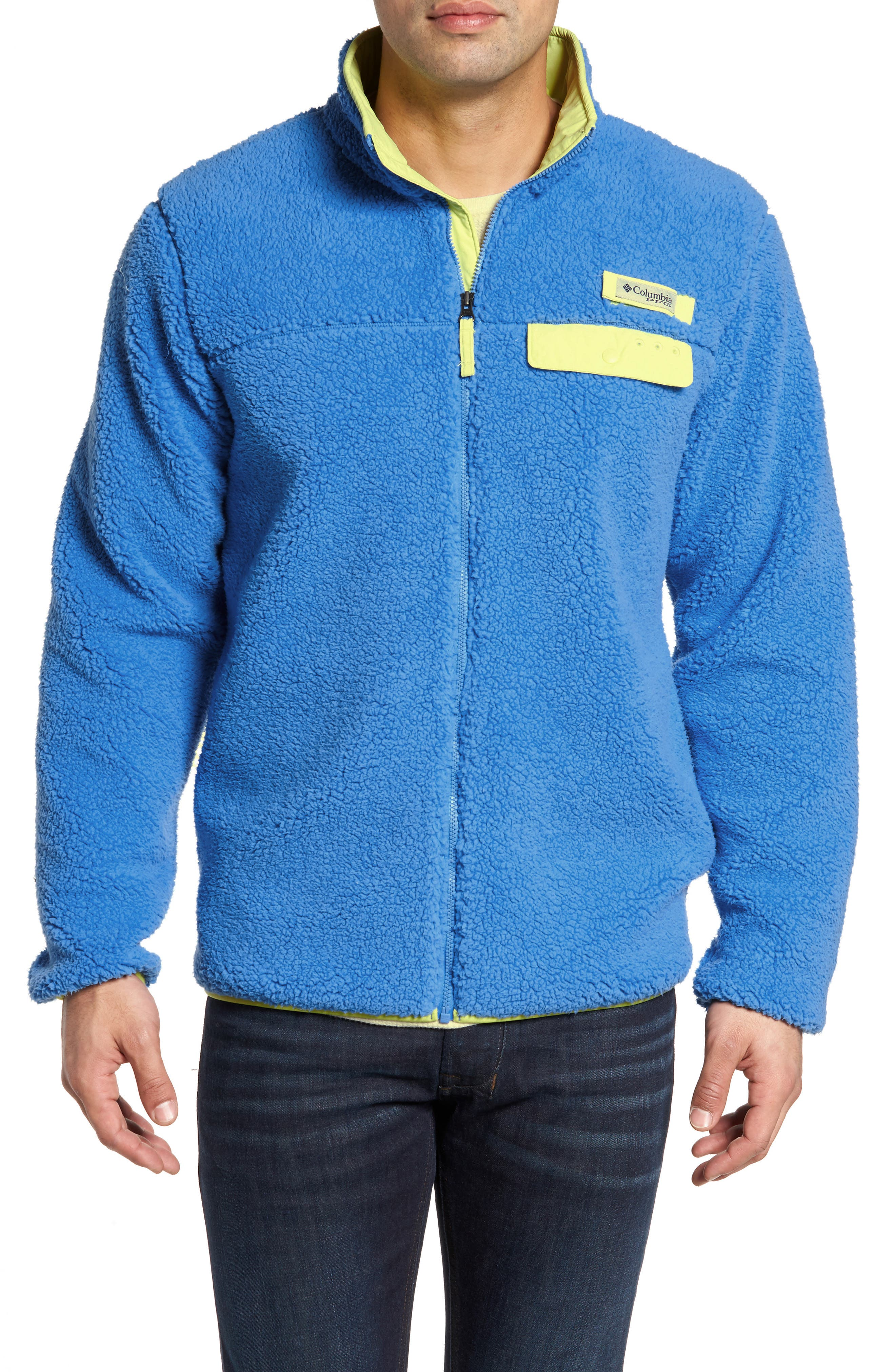 Harborside Fleece Jacket,                         Main,                         color, Harbor Blue/ Neon Light