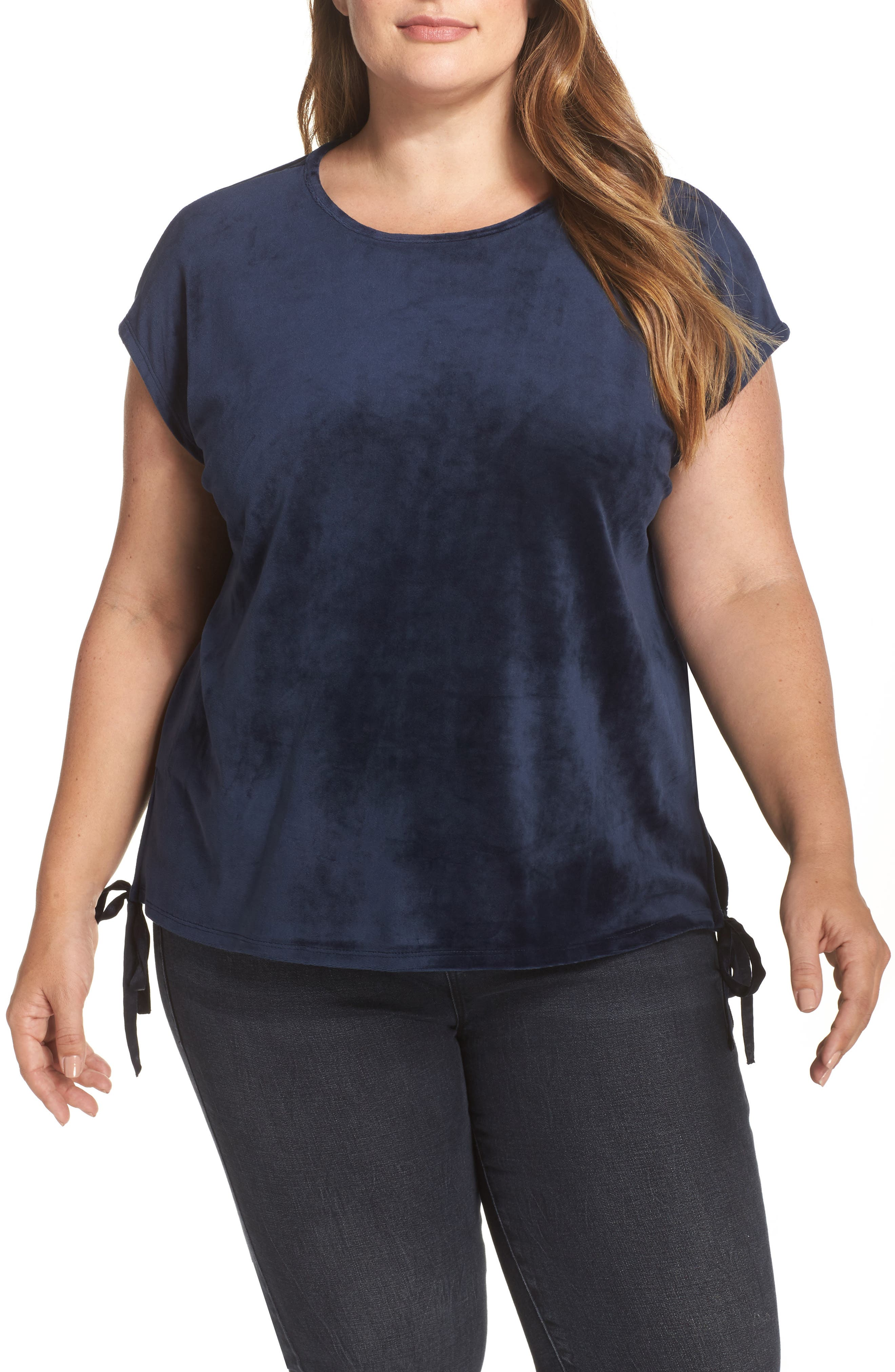 Alternate Image 1 Selected - Two by Vince Camuto Side Tie Velour Top (Plus Size)