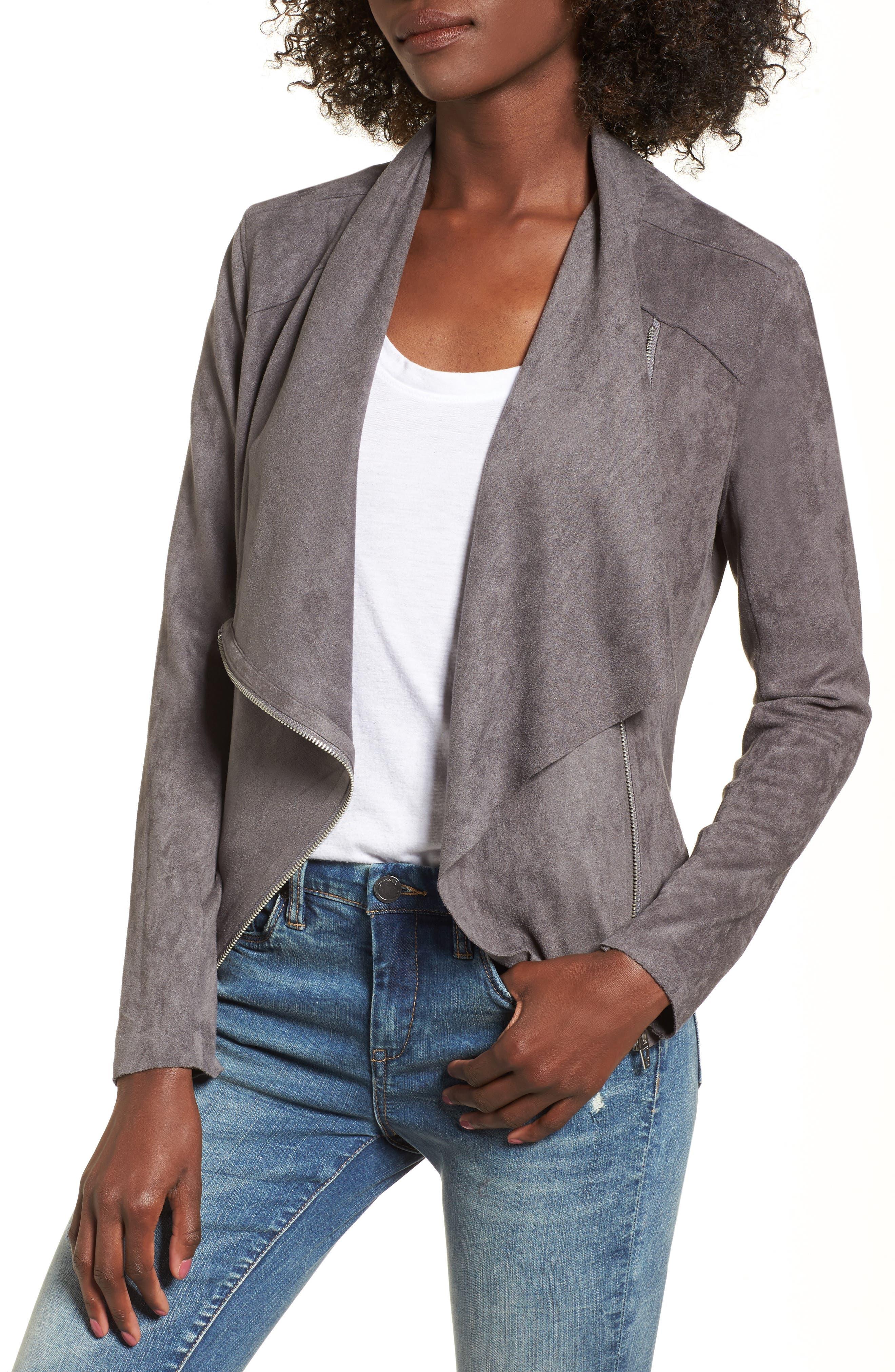 Main Image - BLANKNYC Drape Front Faux Suede Jacket