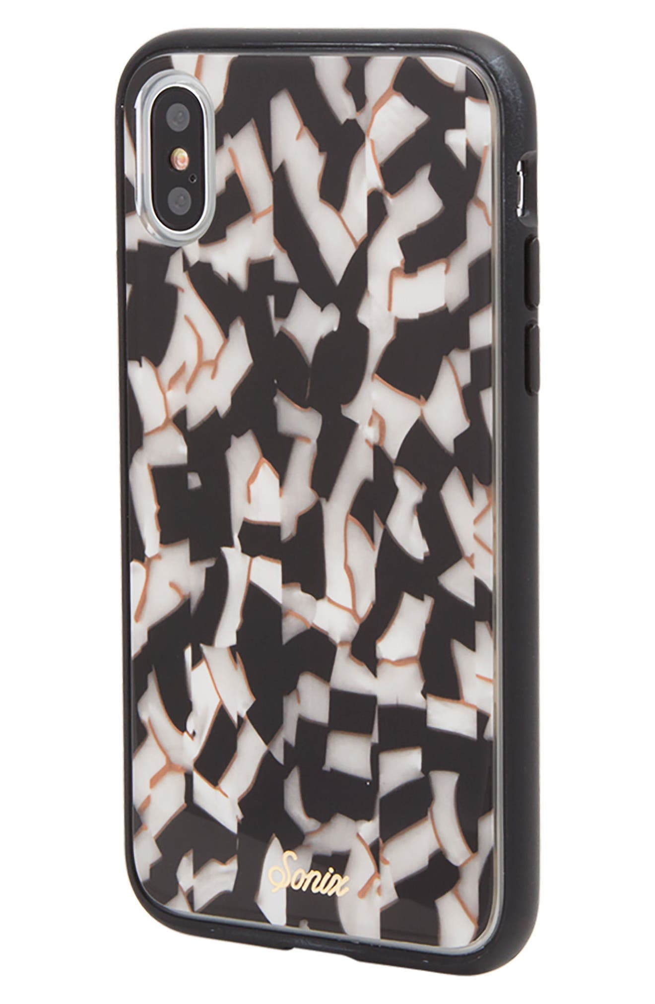 Pearlescent Black iPhone X Case,                             Alternate thumbnail 2, color,                             Black/ White