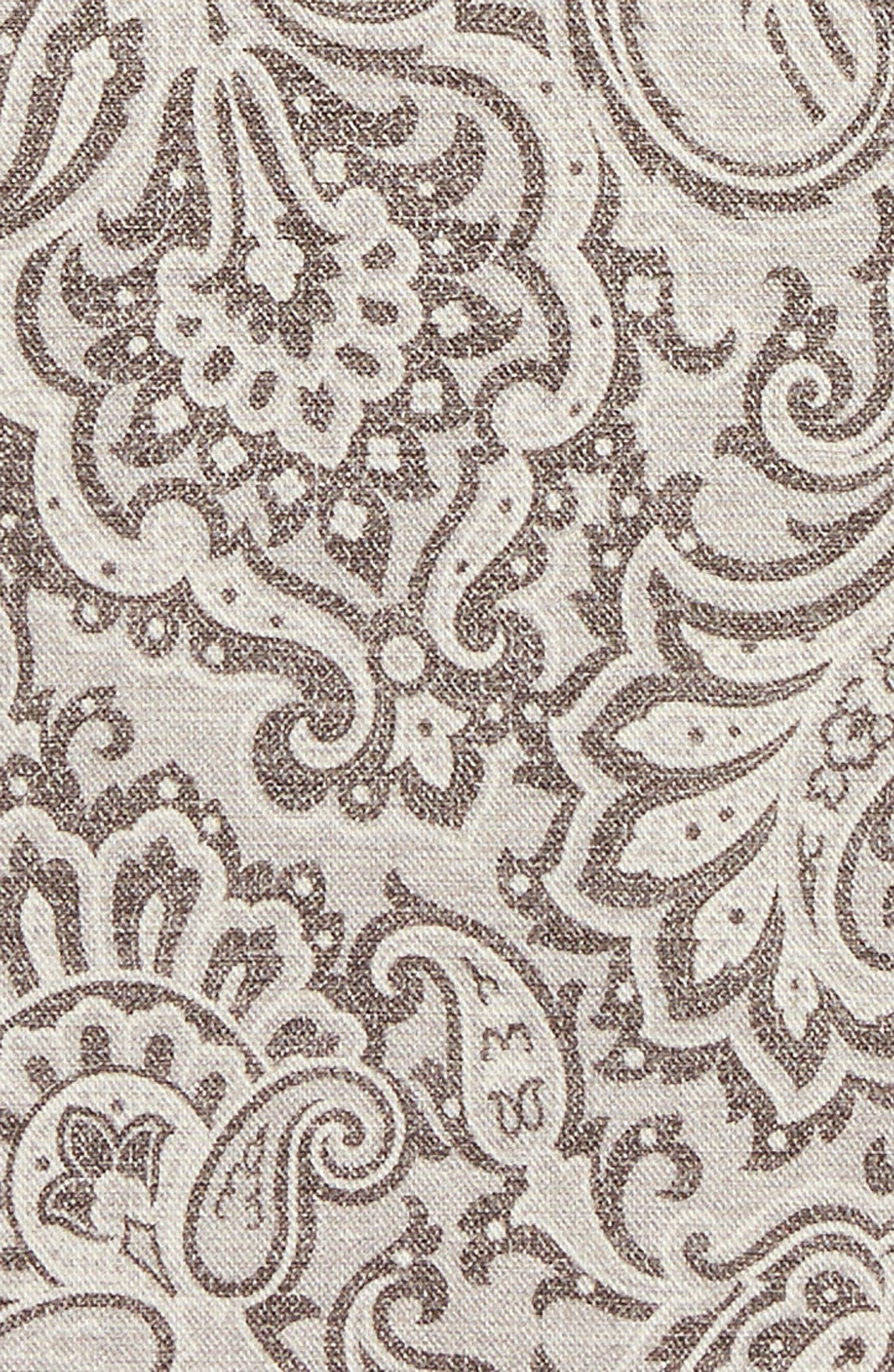 Paisley Wool & Cotton Pocket Square,                             Alternate thumbnail 3, color,                             Grey