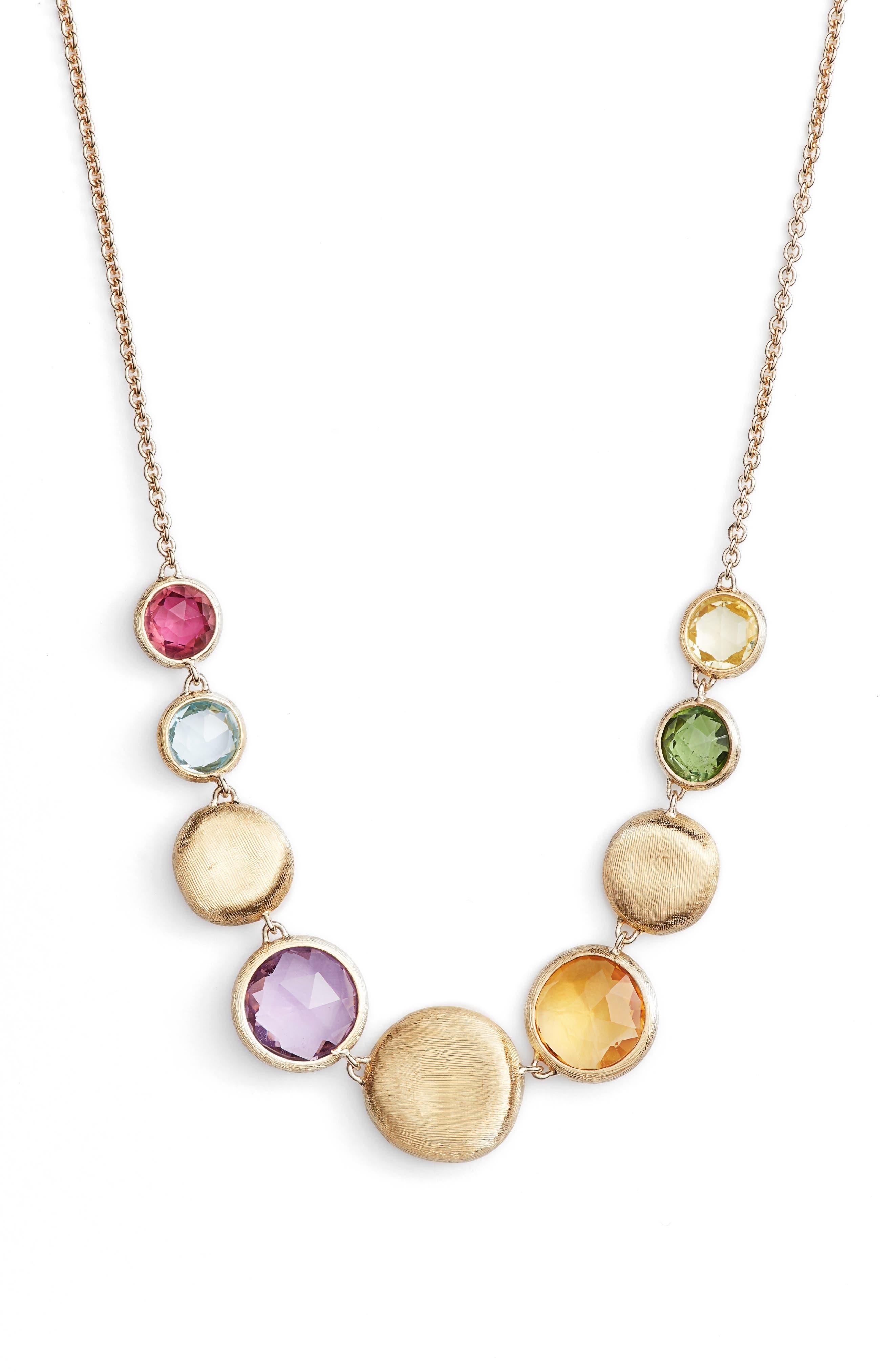 Jaipur Semiprecious Stone Collar Necklace,                             Main thumbnail 1, color,                             Yellow Gold