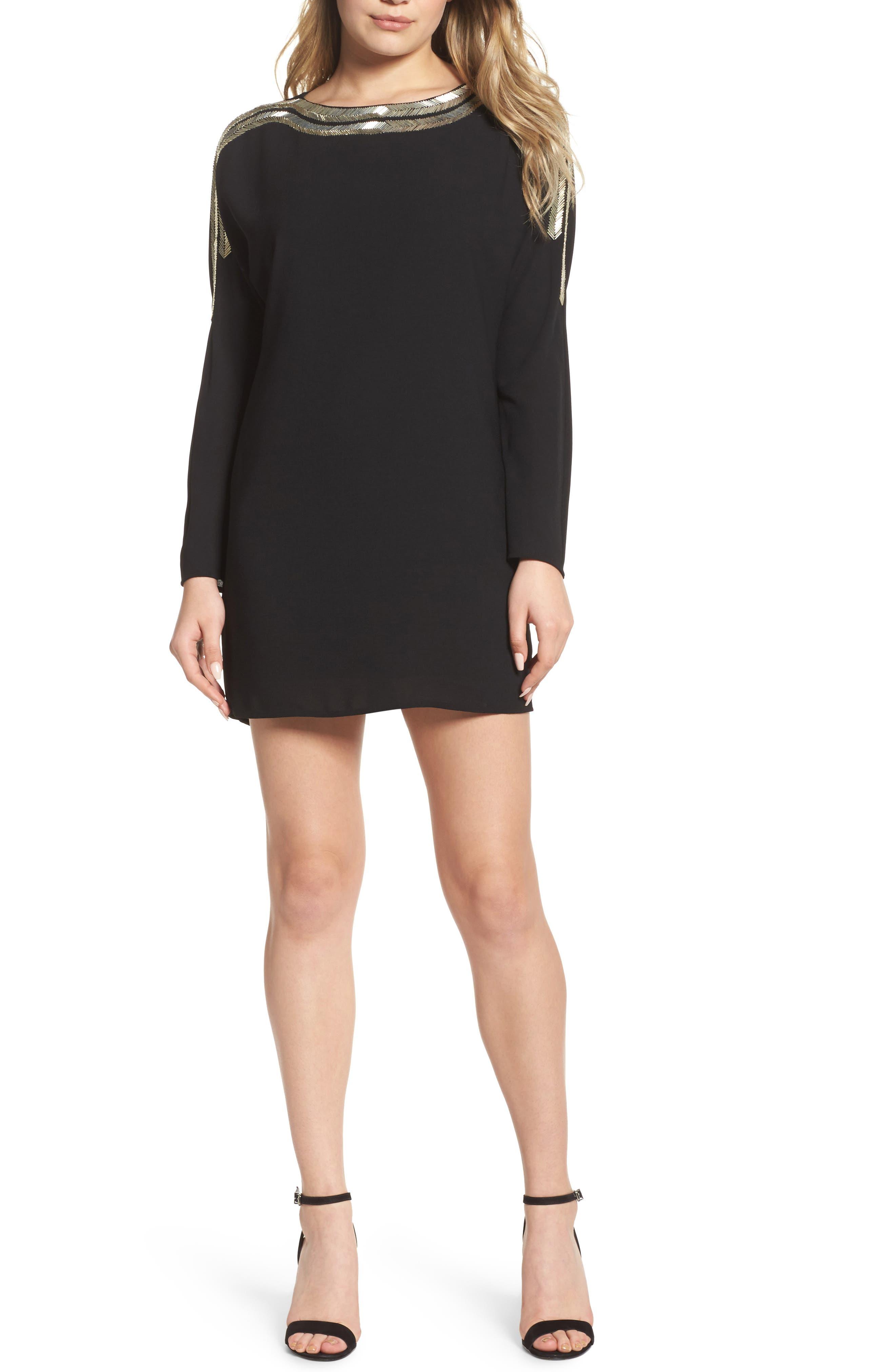 The Set-Up Embellished Minidress,                         Main,                         color, Black