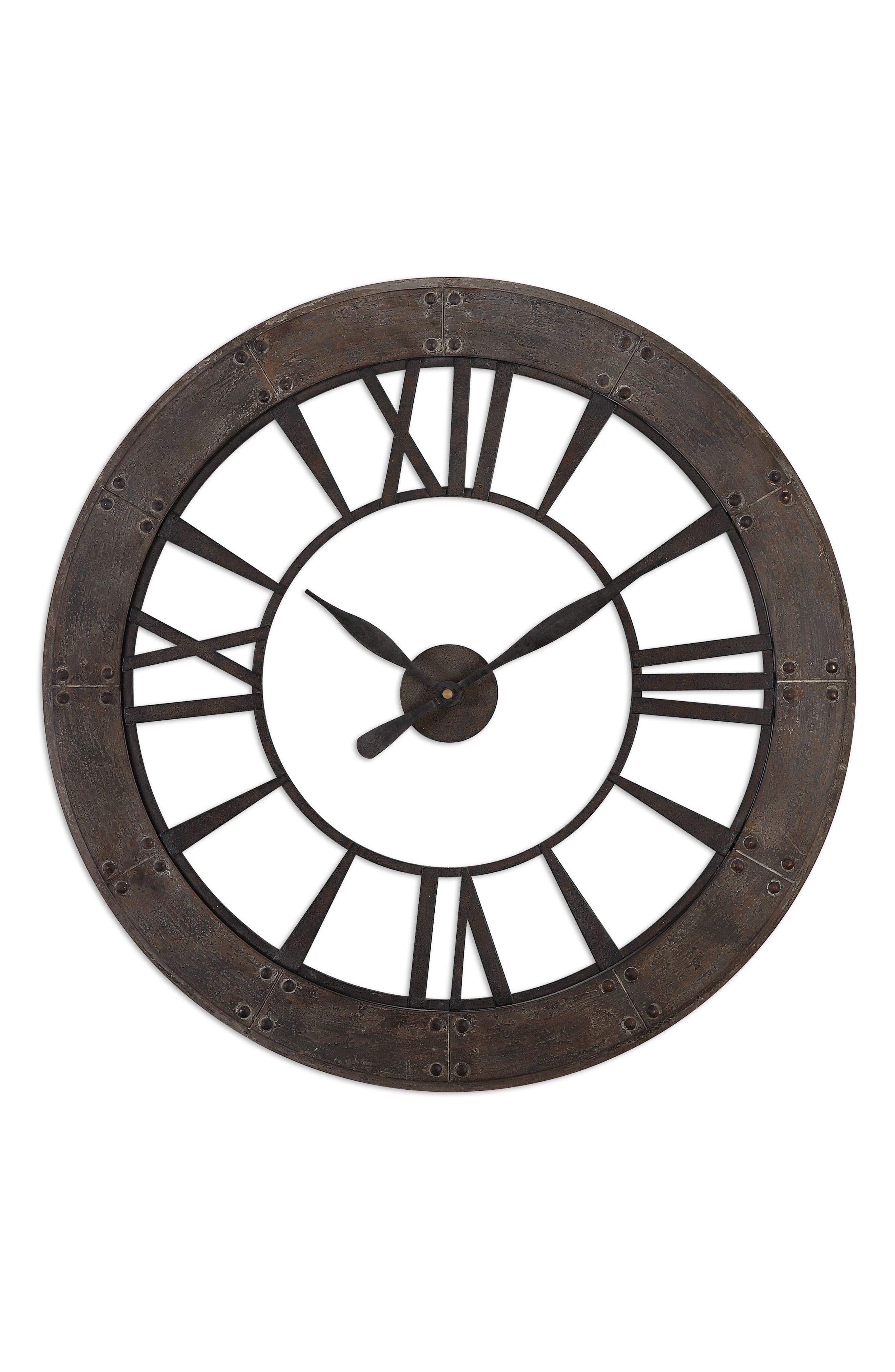 Ronan Wall Clock,                             Main thumbnail 1, color,                             Metallic Rust/ Copper