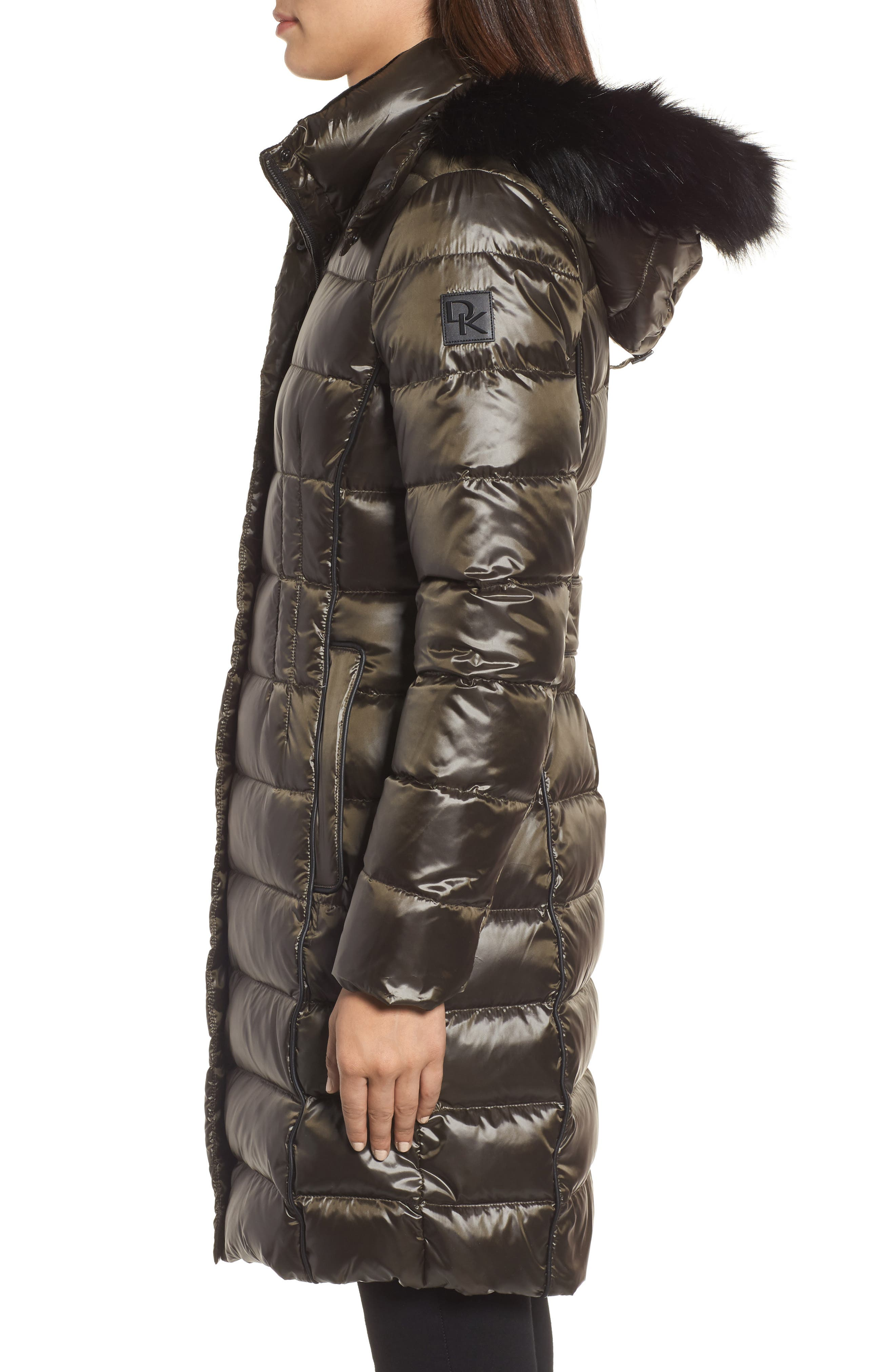 Down Puffer Coat with Faux Fur Trim,                             Alternate thumbnail 4, color,                             Loden