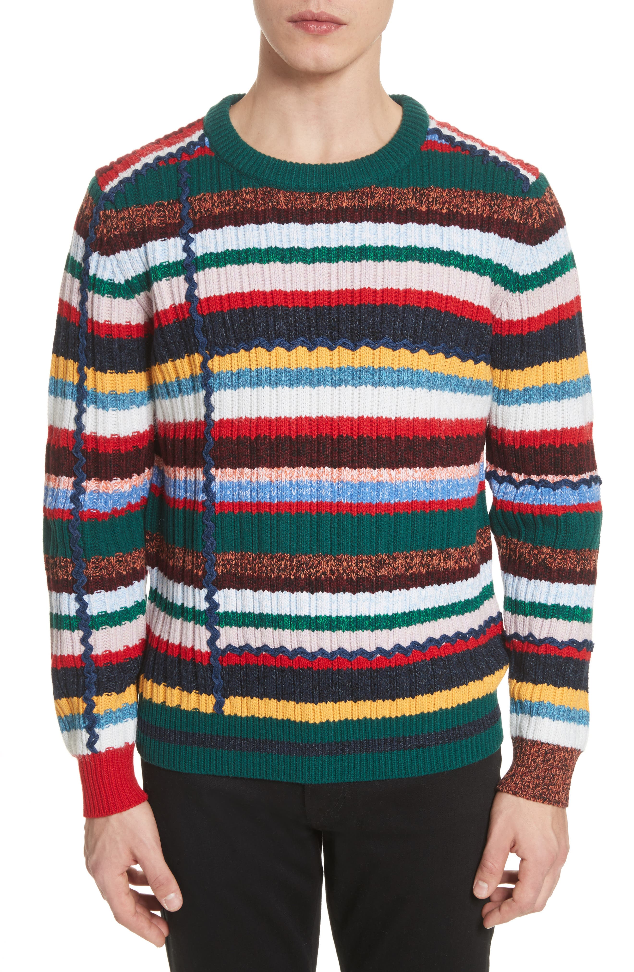 Main Image - Burberry Chunky Multicolor Stripe Wool Blend Sweater