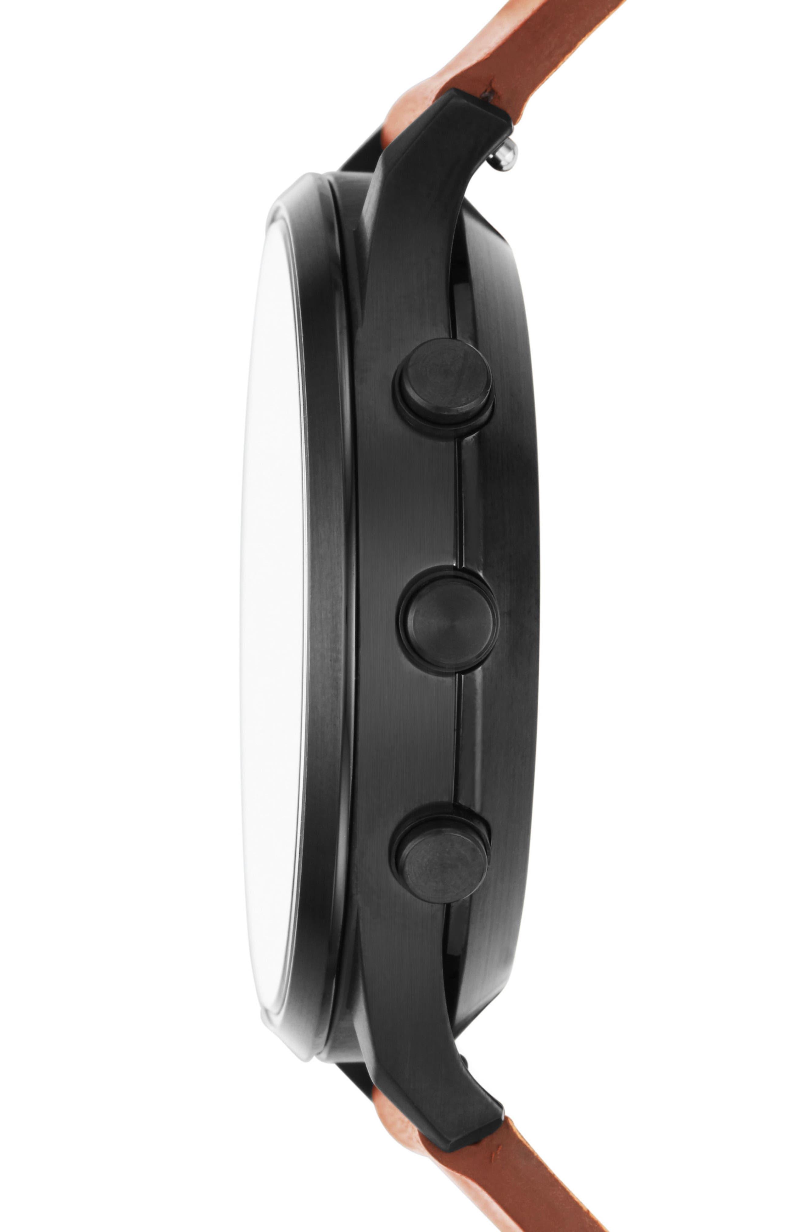 Jorn Hybrid Leather Strap Smart Watch, 41mm,                             Alternate thumbnail 2, color,                             Brown/ Blue/ Black