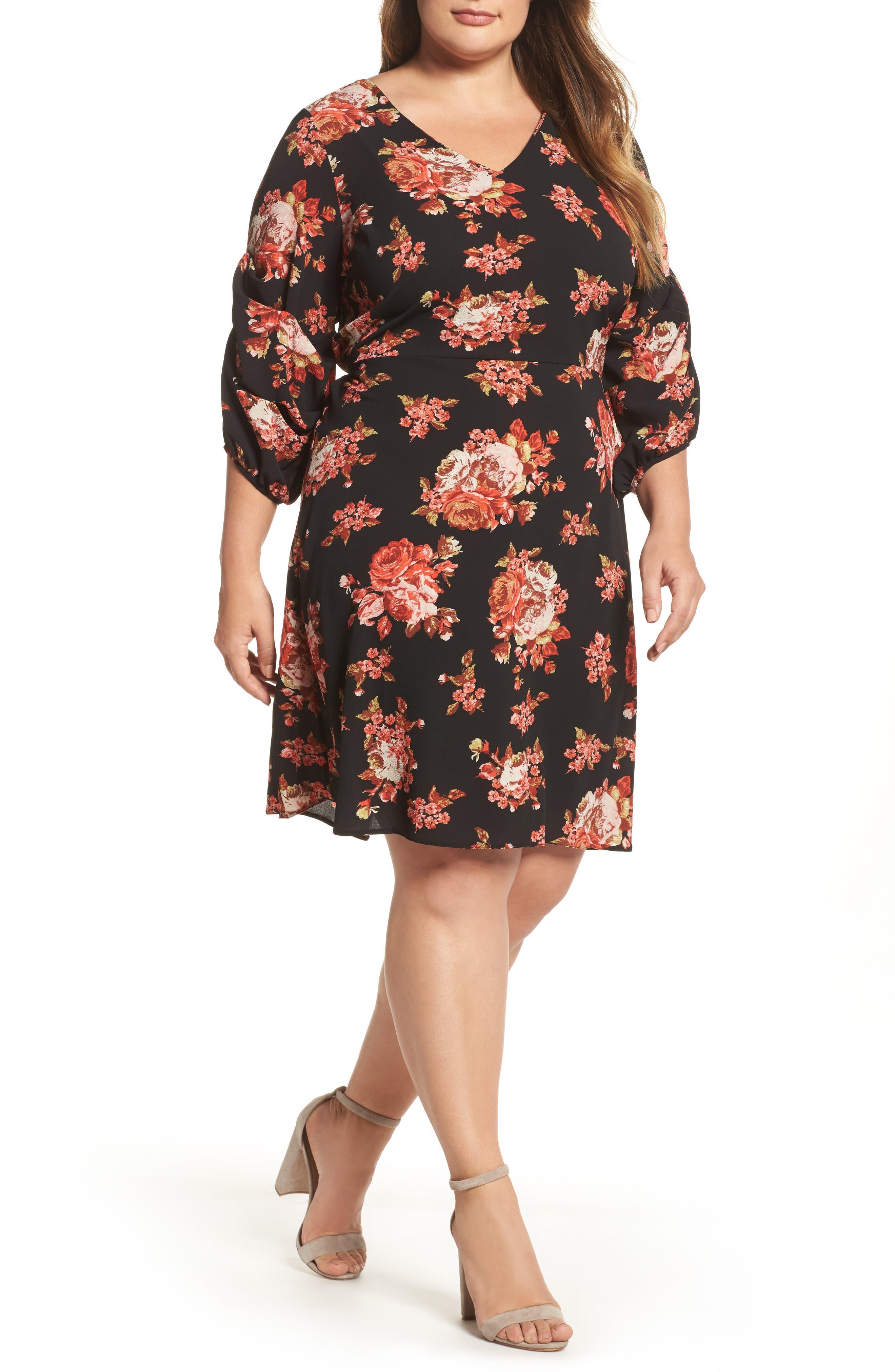 V-Neck Floral Print Dress,                         Main,                         color, Red