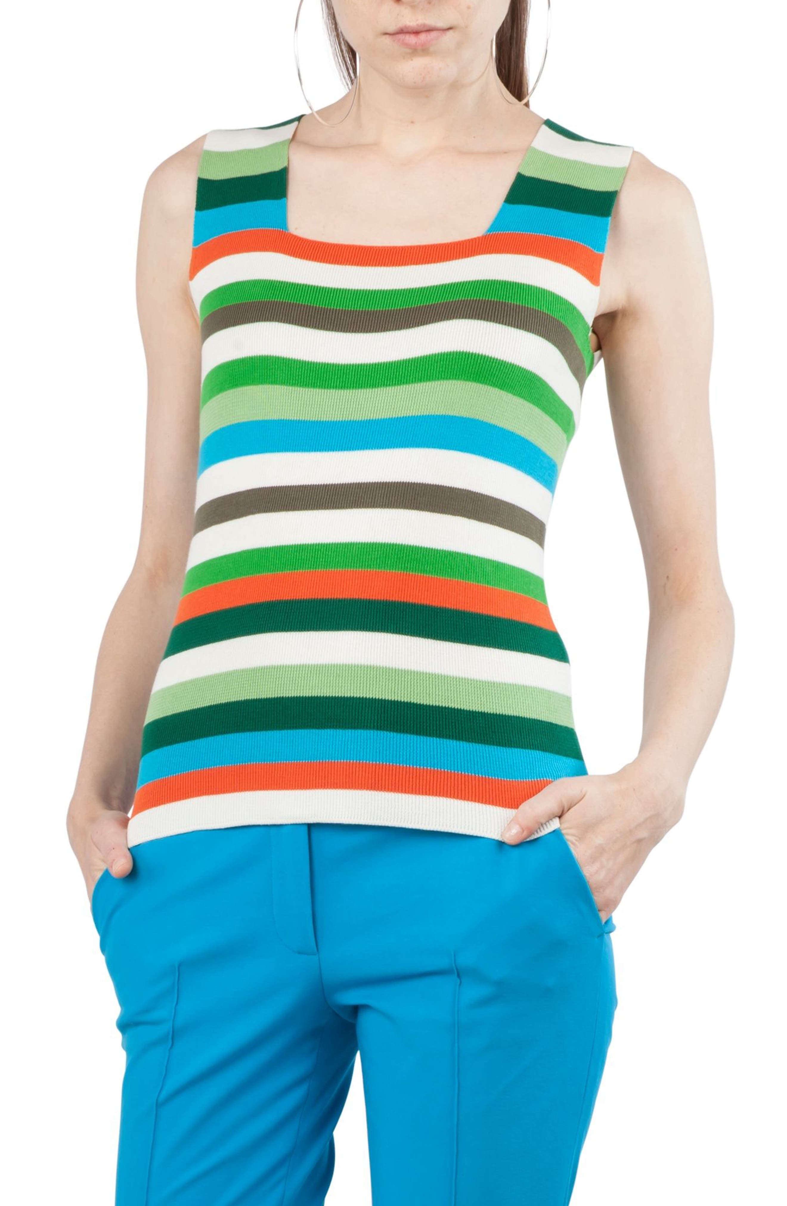 Multicolor Stripe Knit Tank,                             Main thumbnail 1, color,                             Navy / Turquoise / Papaya