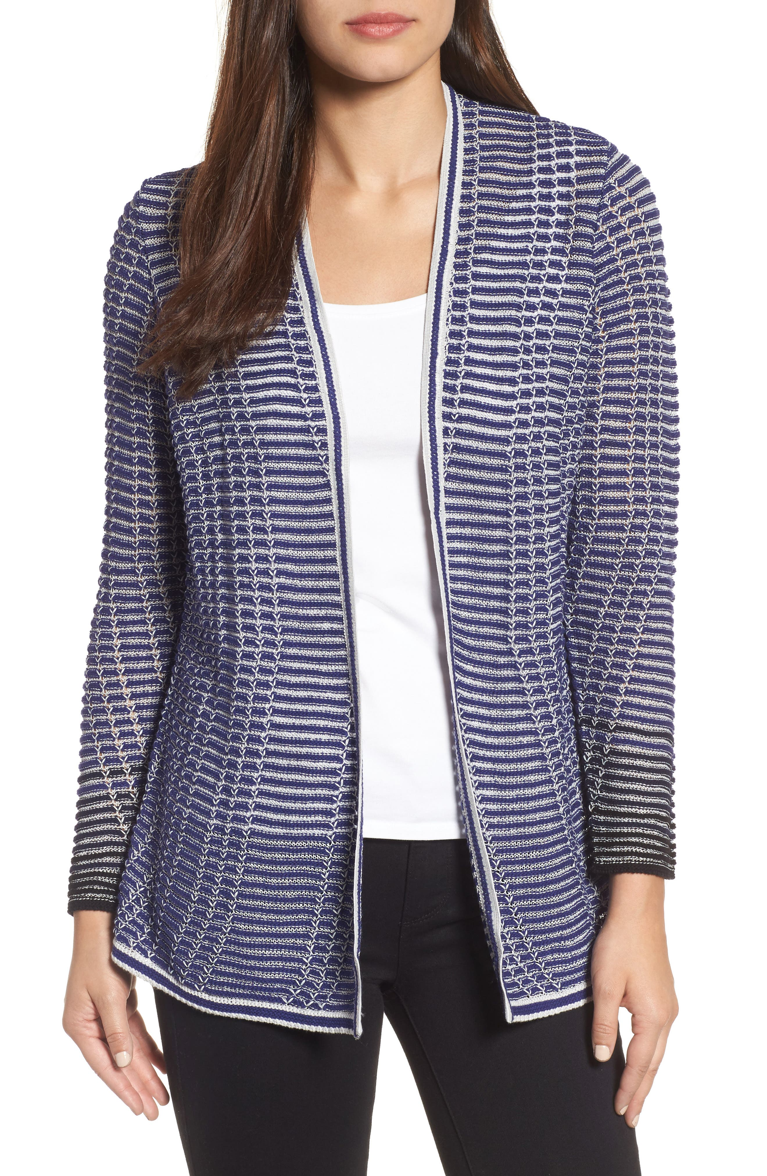 Striped Space Cardigan,                             Main thumbnail 1, color,                             Electric Blue