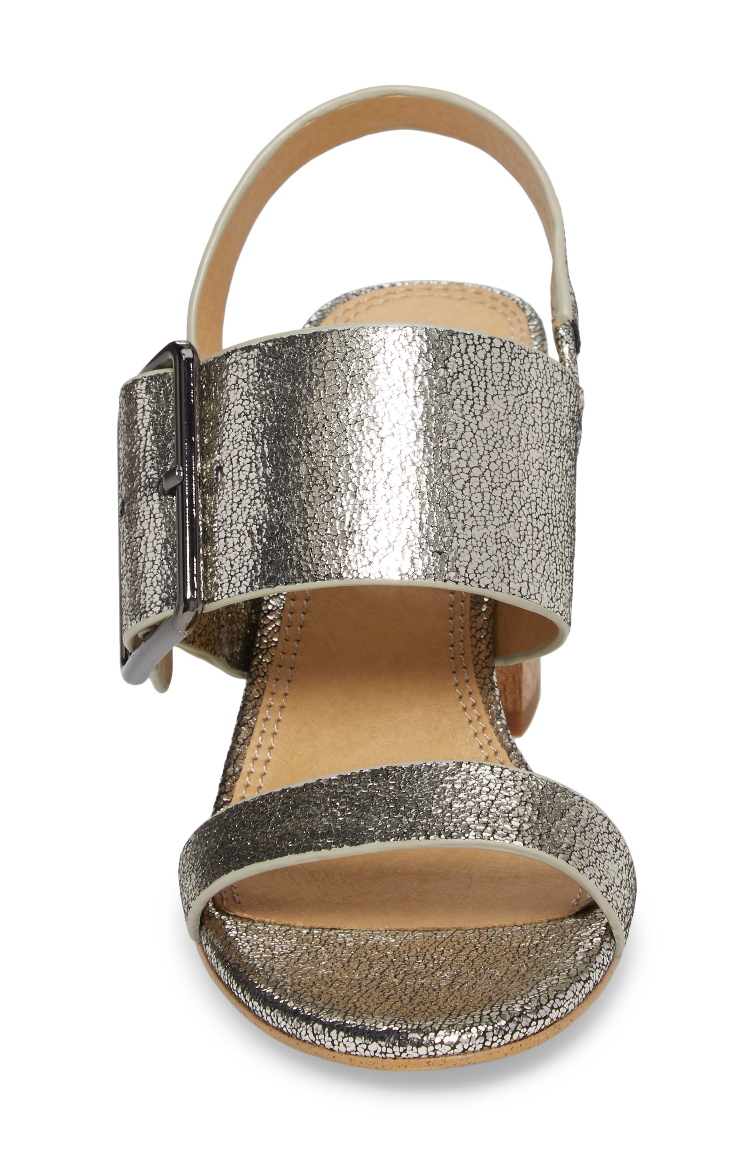 Bo Slingback Sandal,                             Alternate thumbnail 4, color,                             Nickel Metallic Leather