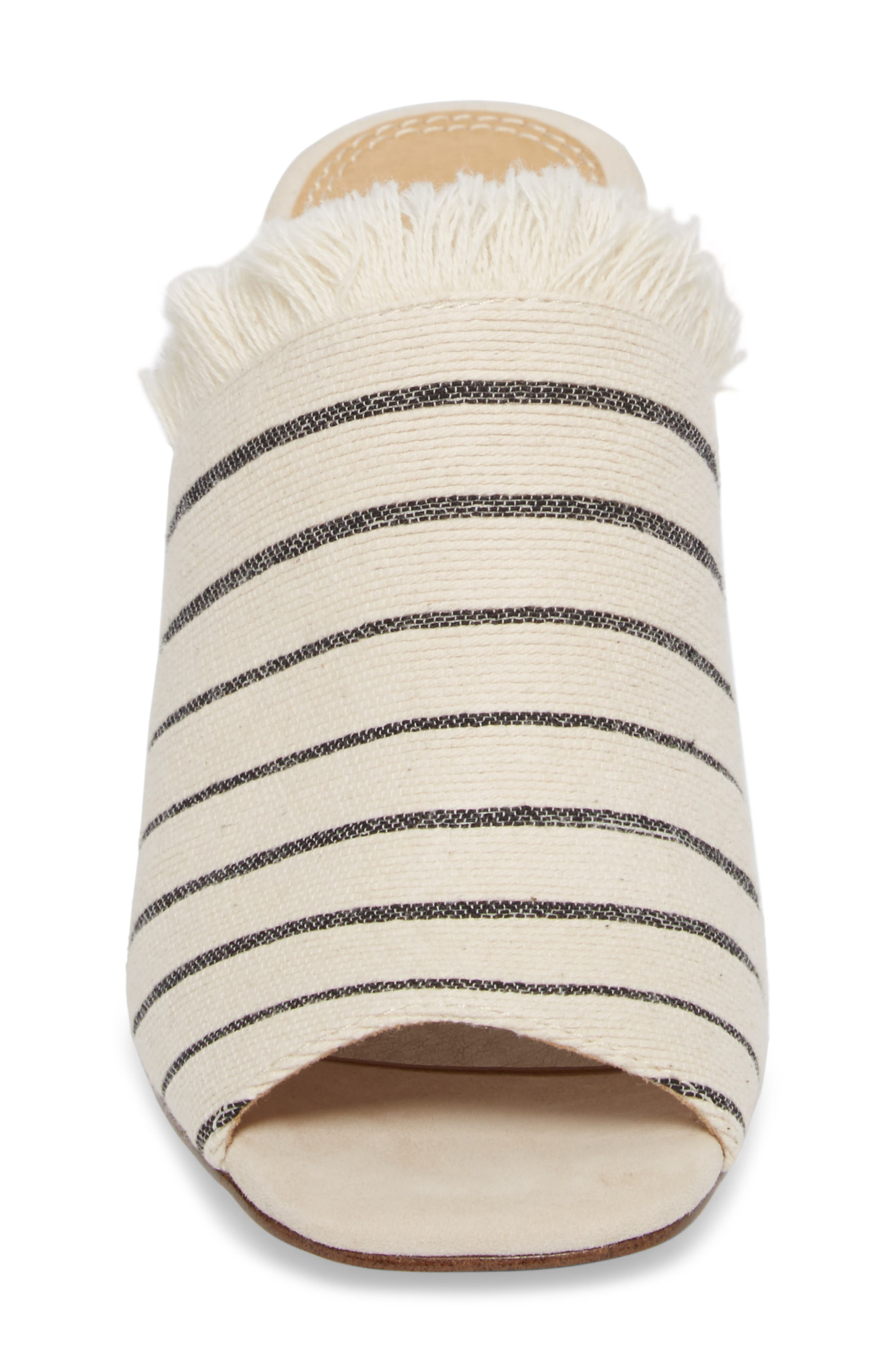 Baron Fringed Block Heel Slide,                             Alternate thumbnail 4, color,                             Cream Leather