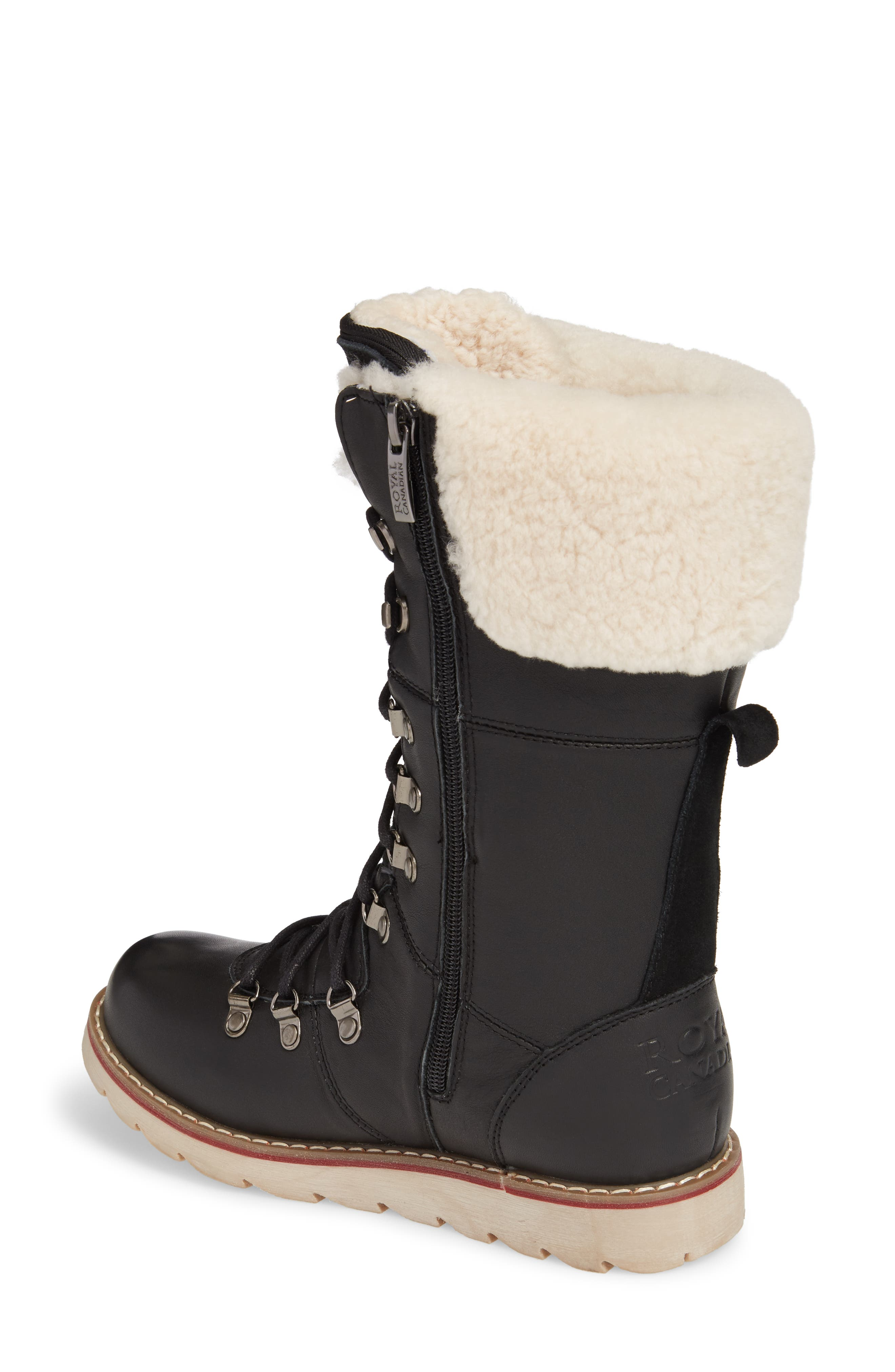 Louise Waterproof Snow Boot with Genuine Shearling Cuff,                             Alternate thumbnail 2, color,                             Black Leather