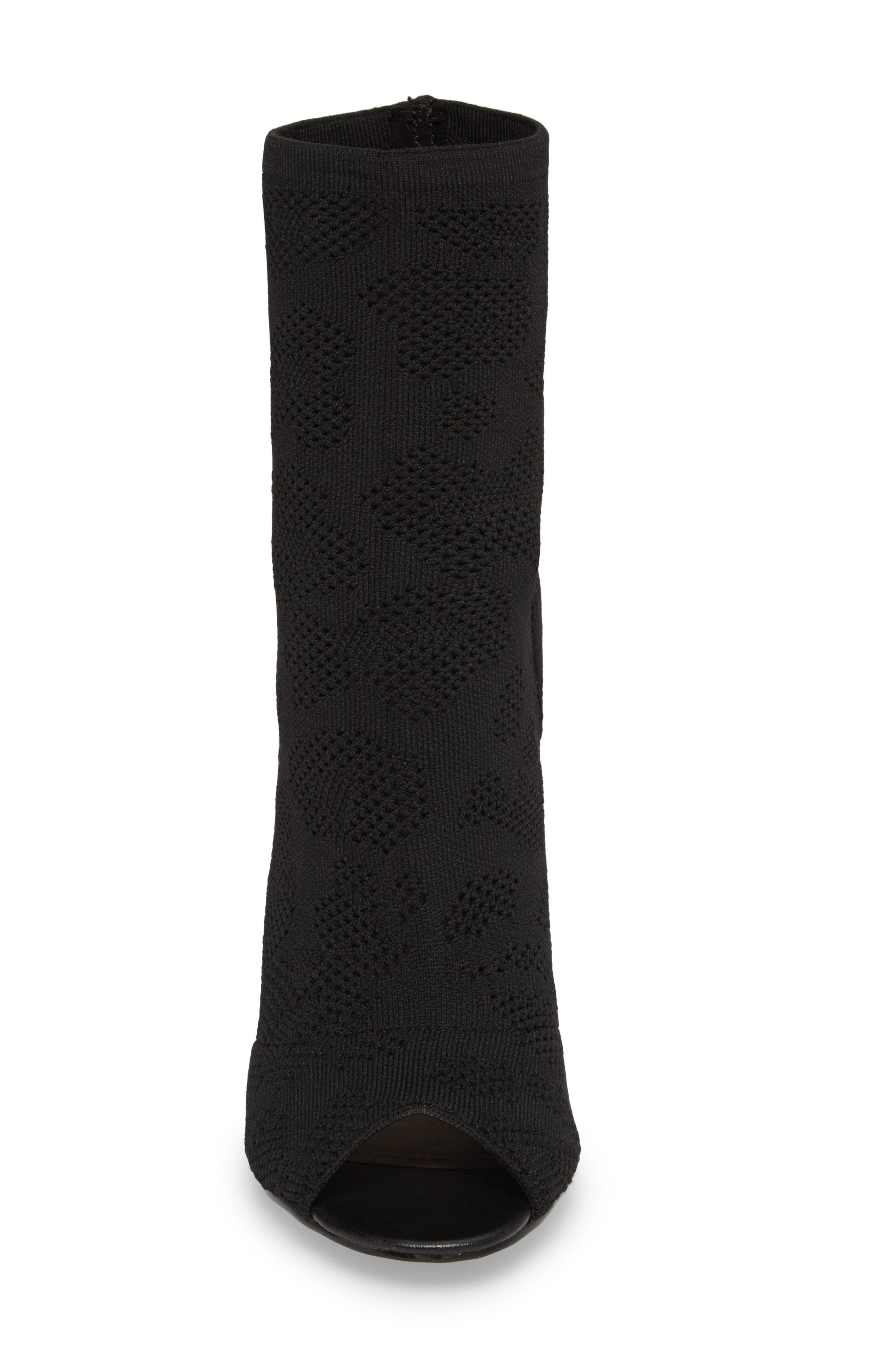 Ranger Sock Knit Open Toe Bootie,                             Alternate thumbnail 4, color,                             Black Stretch Fabric