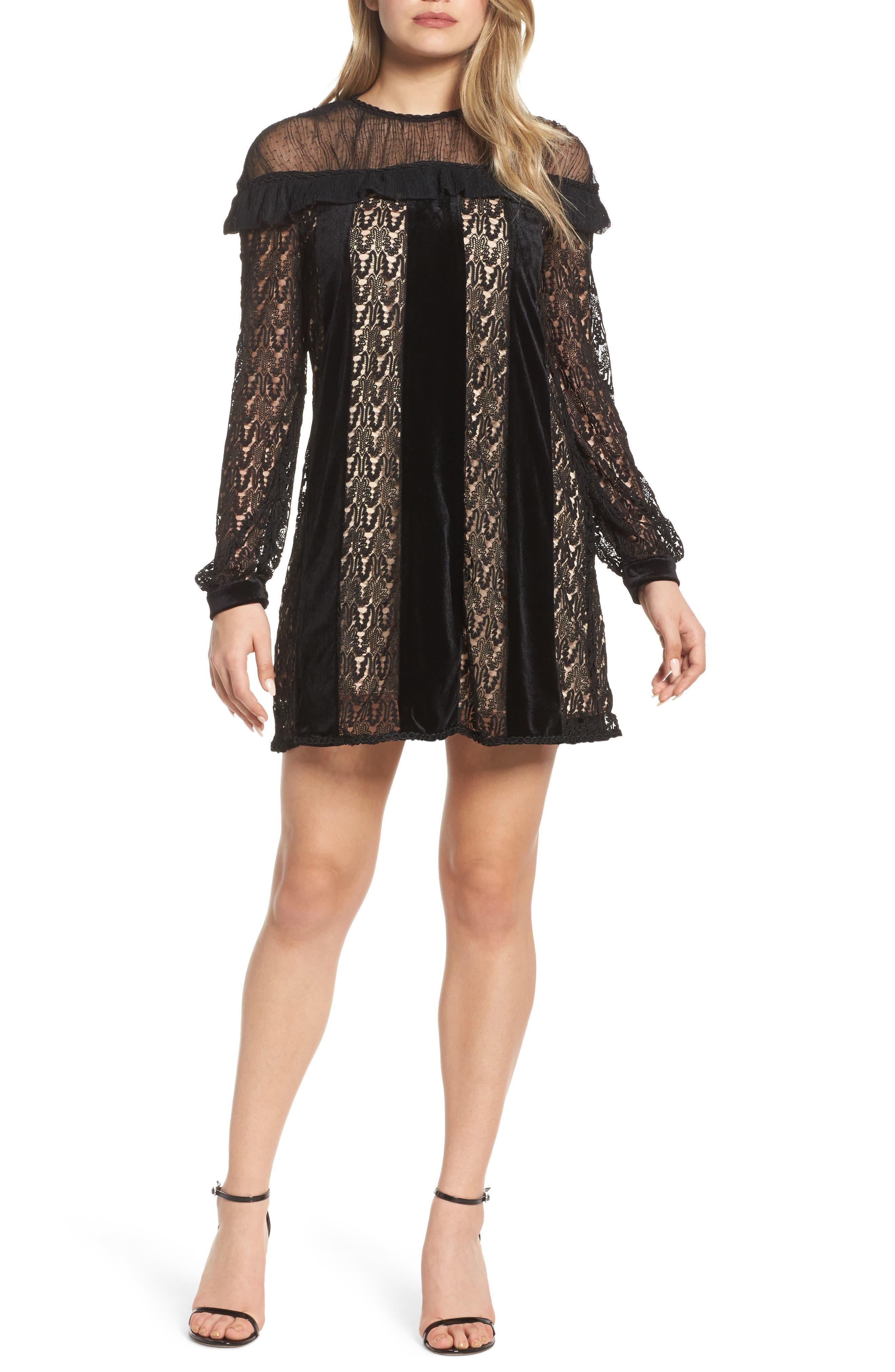Charli Lace & Velvet Shift Dress,                             Main thumbnail 1, color,                             Black