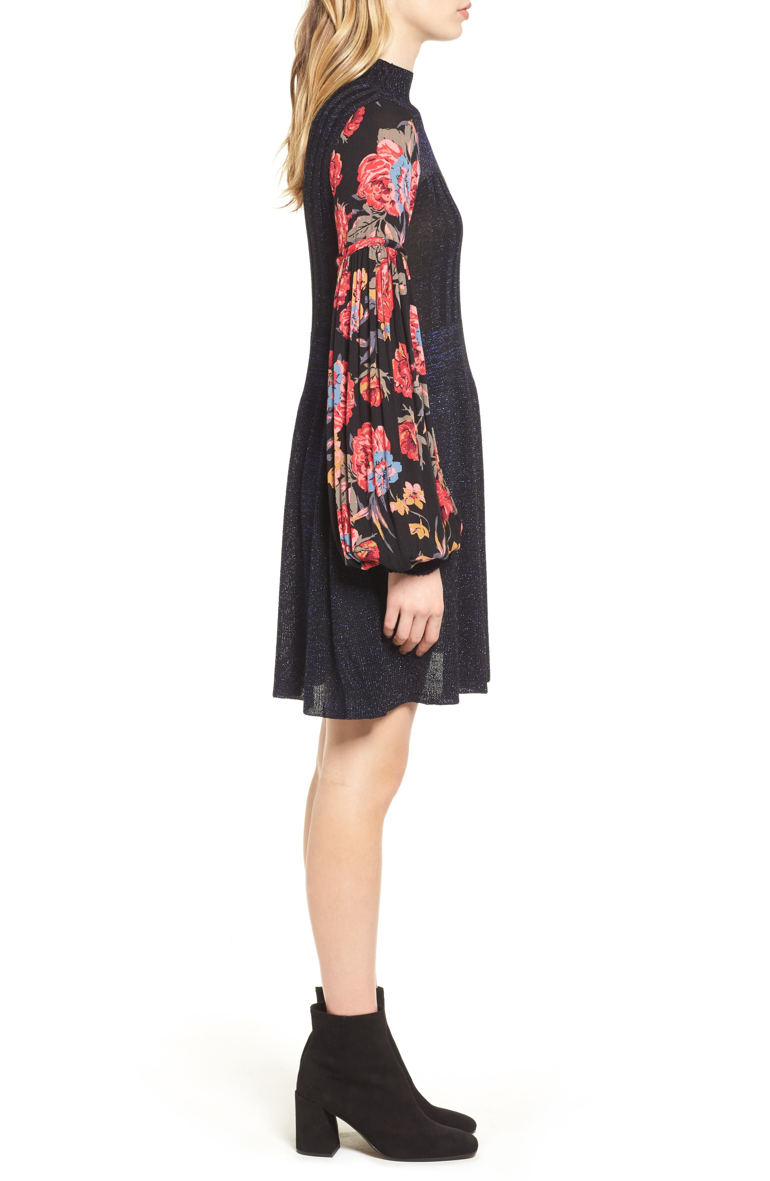 Rose & Shine Sweater Dress,                             Alternate thumbnail 3, color,                             Black Combo