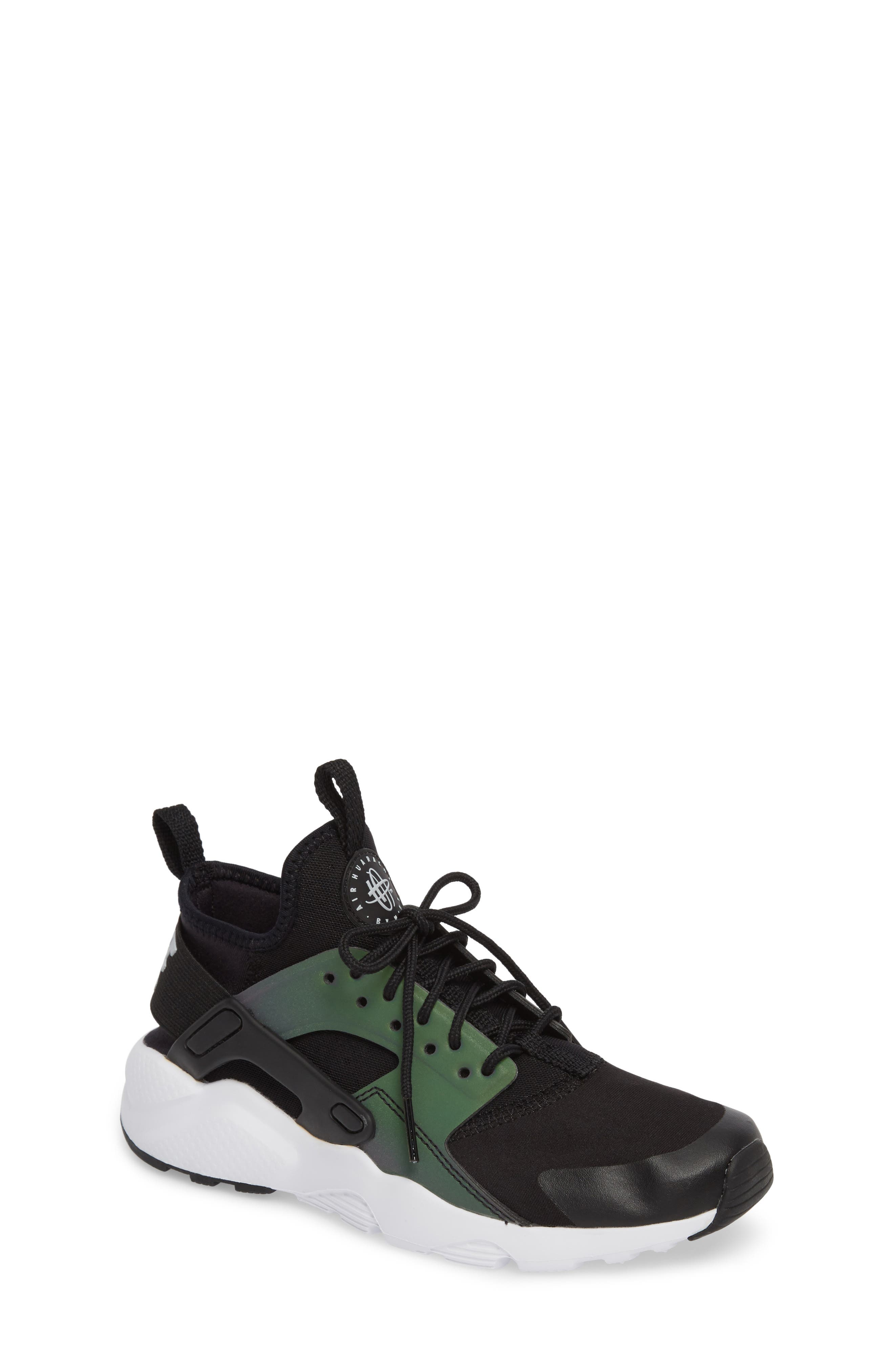 Air Huarache Run SE Sneaker,                             Main thumbnail 1, color,                             Black/ Wolf Grey-White