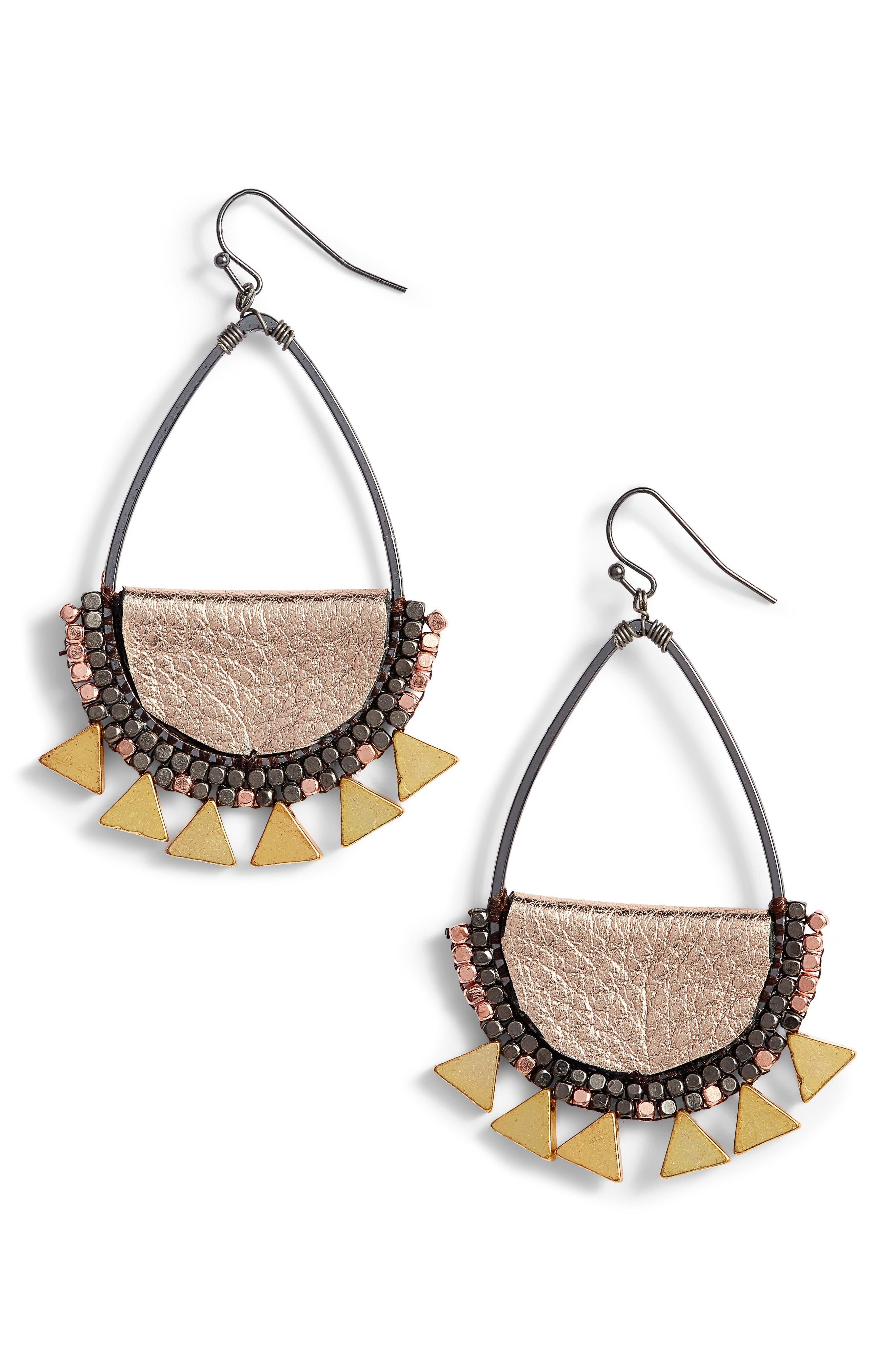 Beaded Teardrop Earrings,                         Main,                         color, Gold