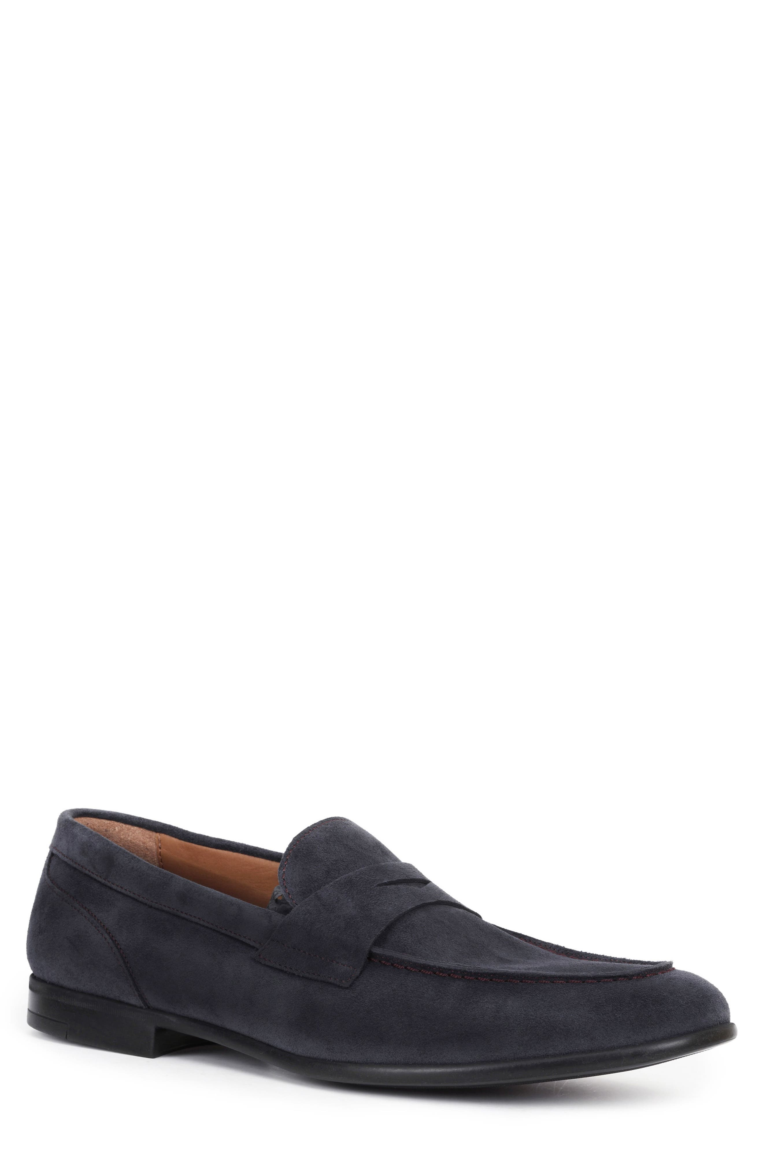 Bruno Magli Silas BM600231 Mens Black Suede Casual Slip On Loafers Shoes