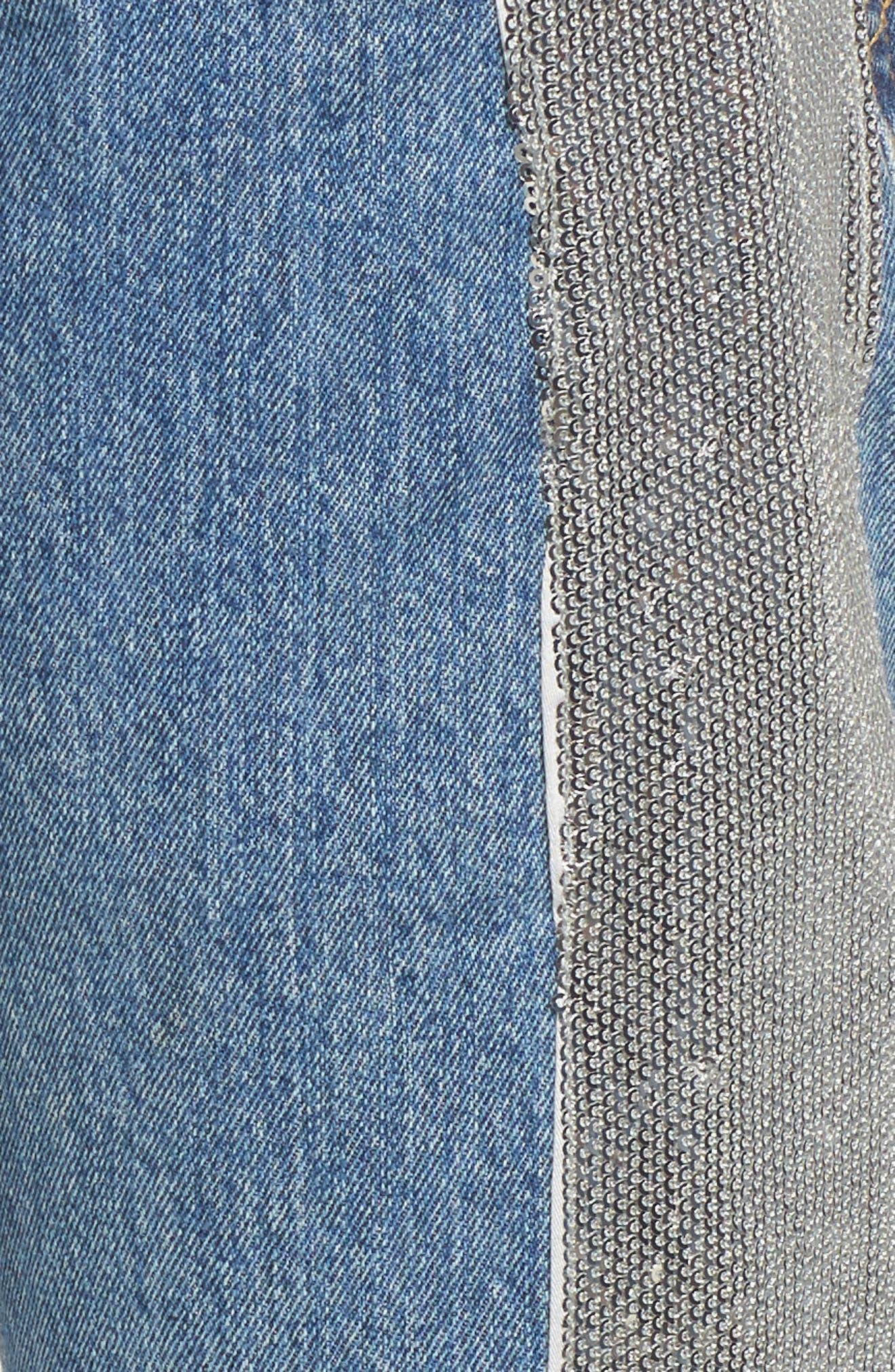 Sequin Boyfriend Jeans,                             Alternate thumbnail 6, color,                             Medium Wash/ Silver
