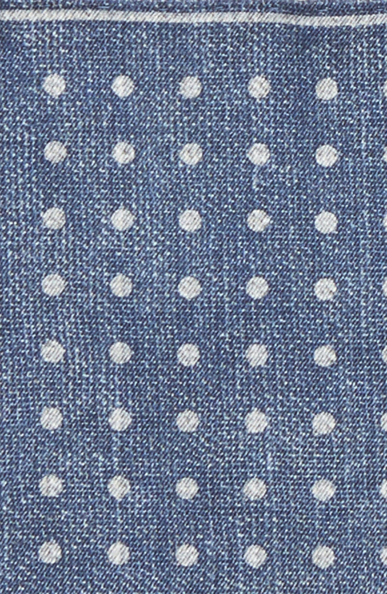 Dot Silk Pocket Square,                             Alternate thumbnail 3, color,                             Blue