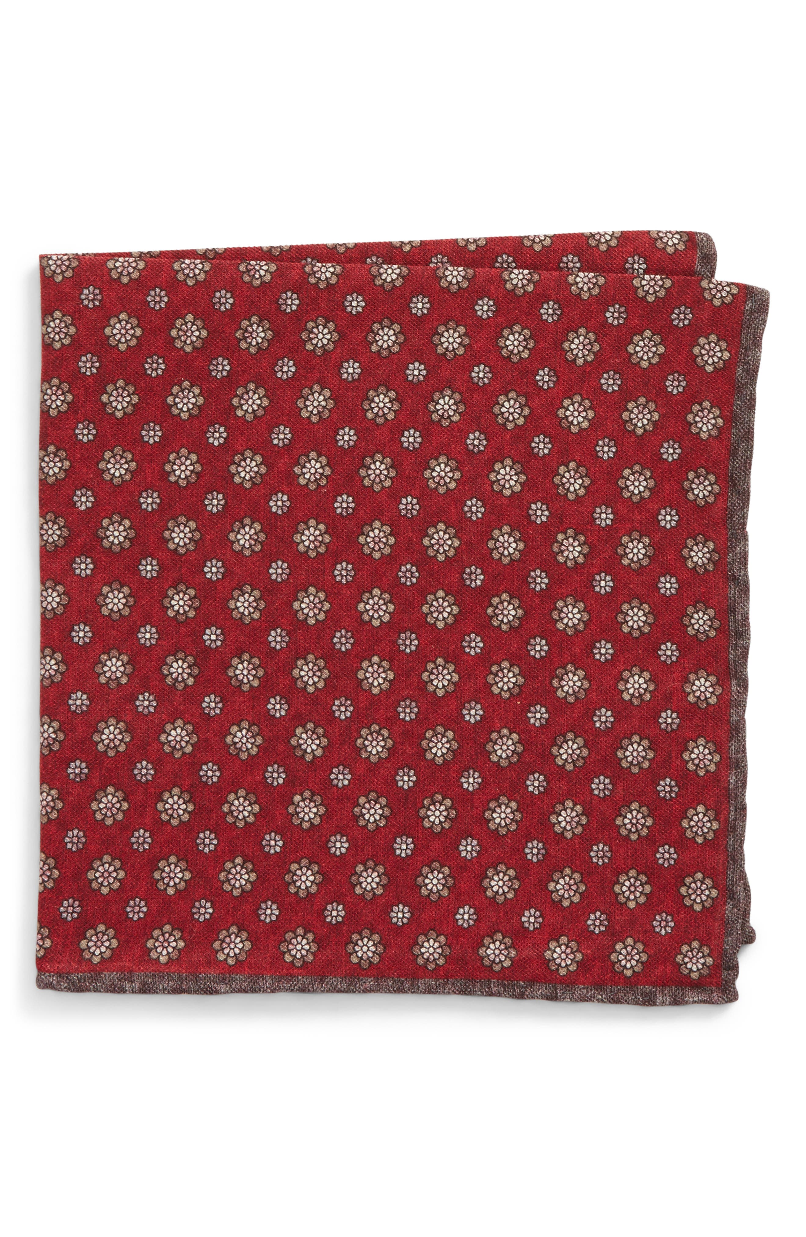 Medallion Wool & Cotton Pocket Square,                         Main,                         color, Red