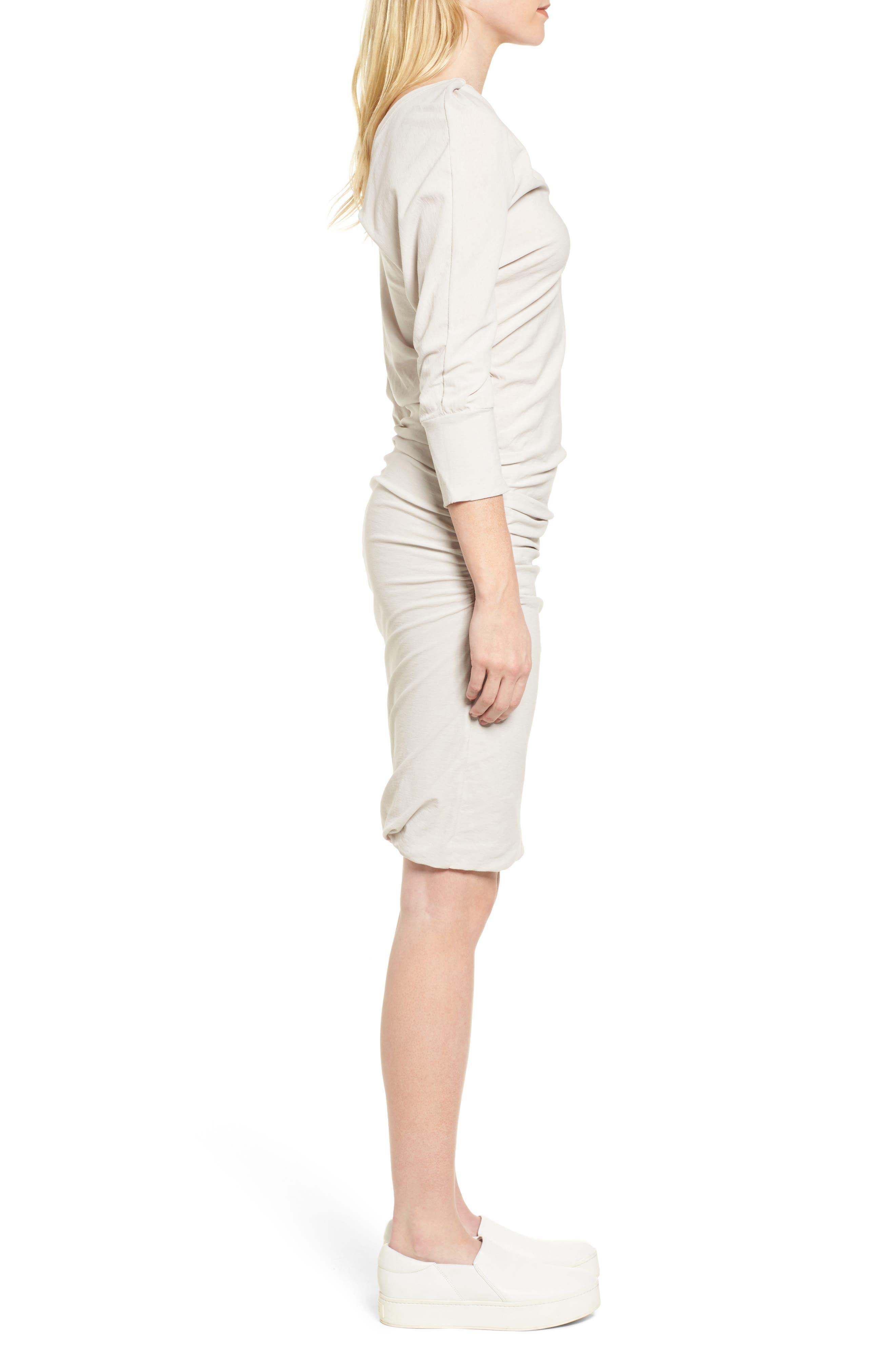 Shirred Cotton Dress,                             Alternate thumbnail 3, color,                             Dapple