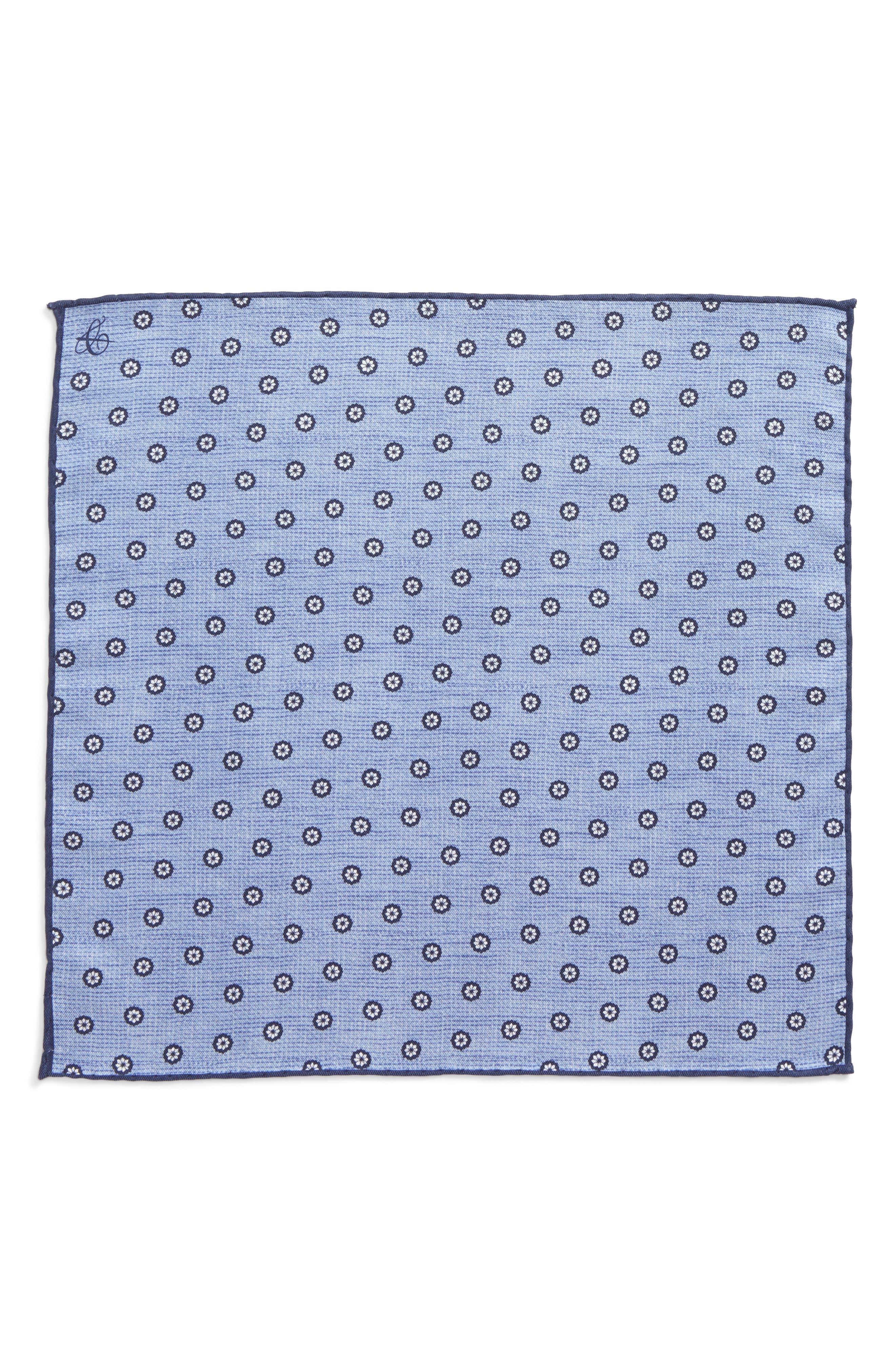 Floral Silk Pocket Square,                             Alternate thumbnail 2, color,                             Light Blue