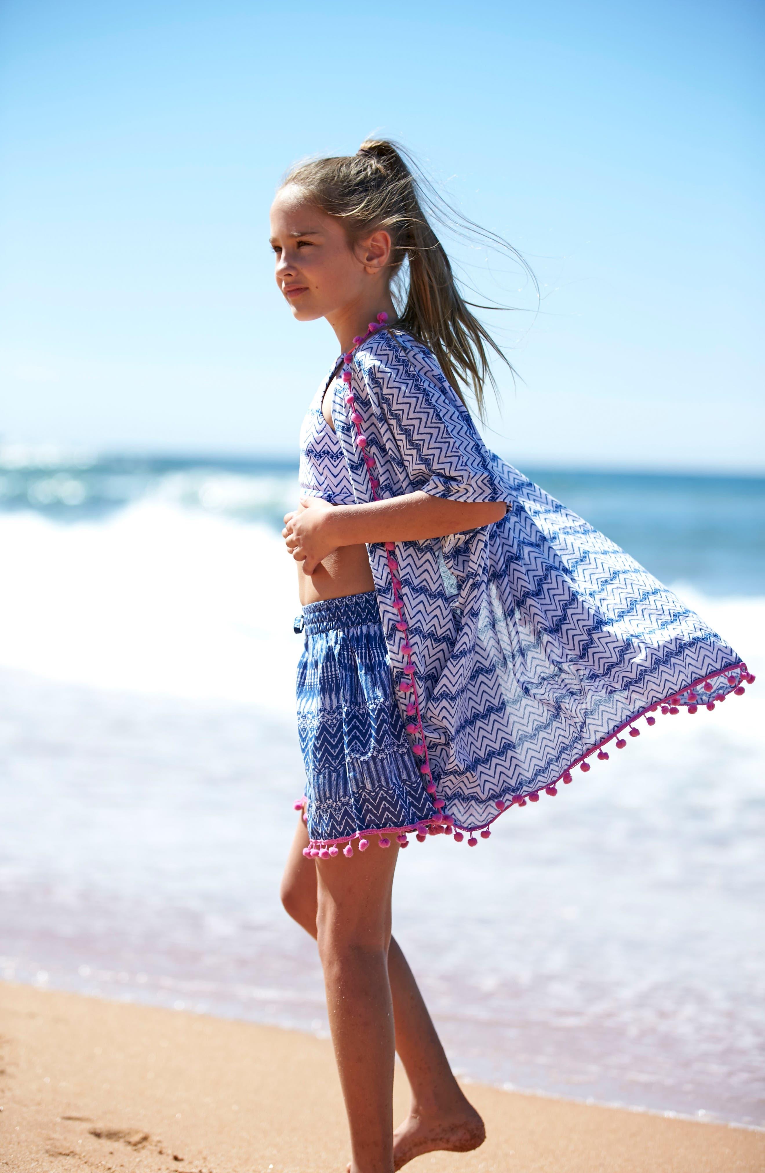 Alternate Image 4  - Platypus Australia Print Cover-Up Shorts (Big Girls)