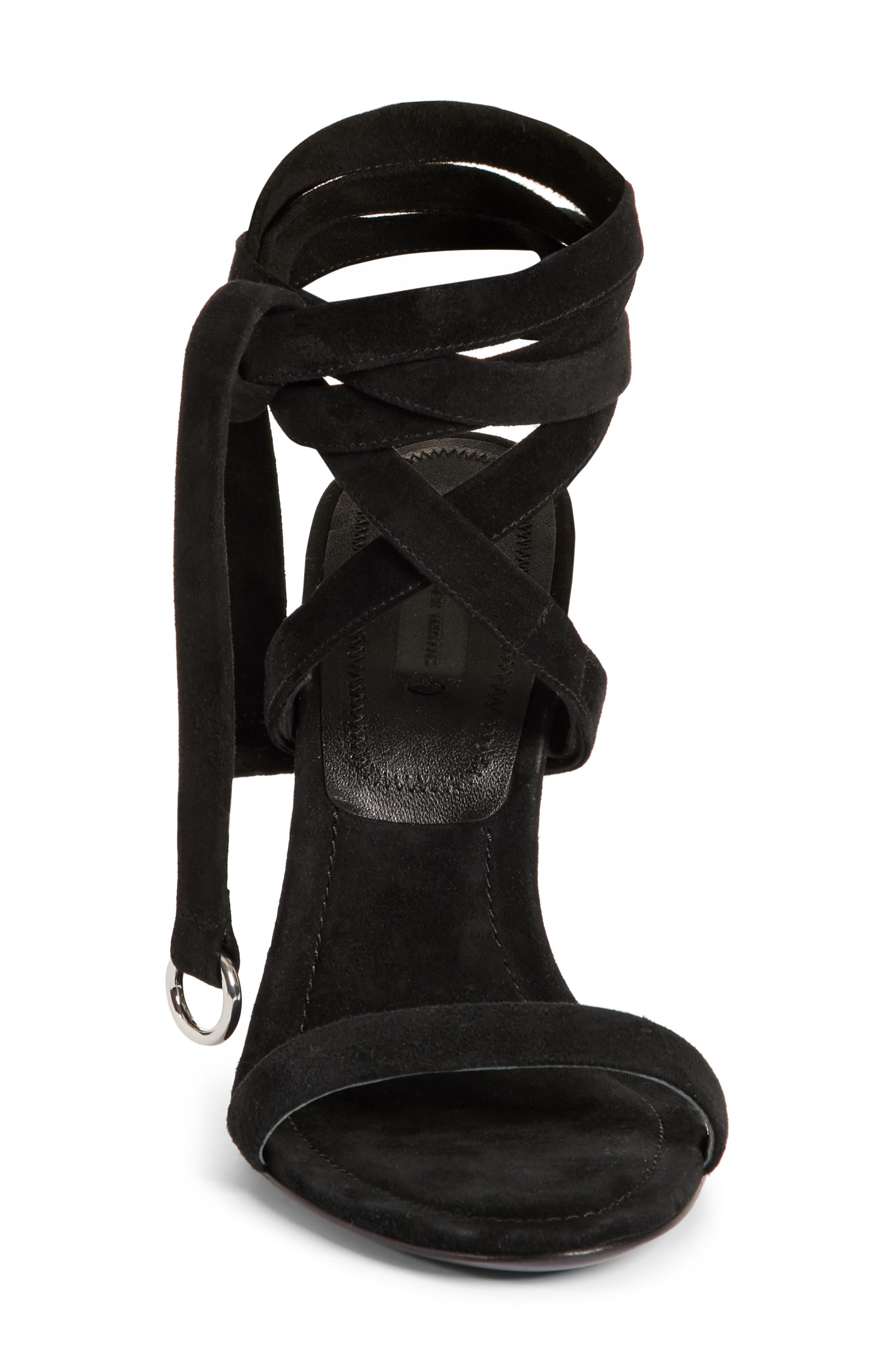 Evie Ankle Tie Sandal,                             Alternate thumbnail 4, color,                             Black