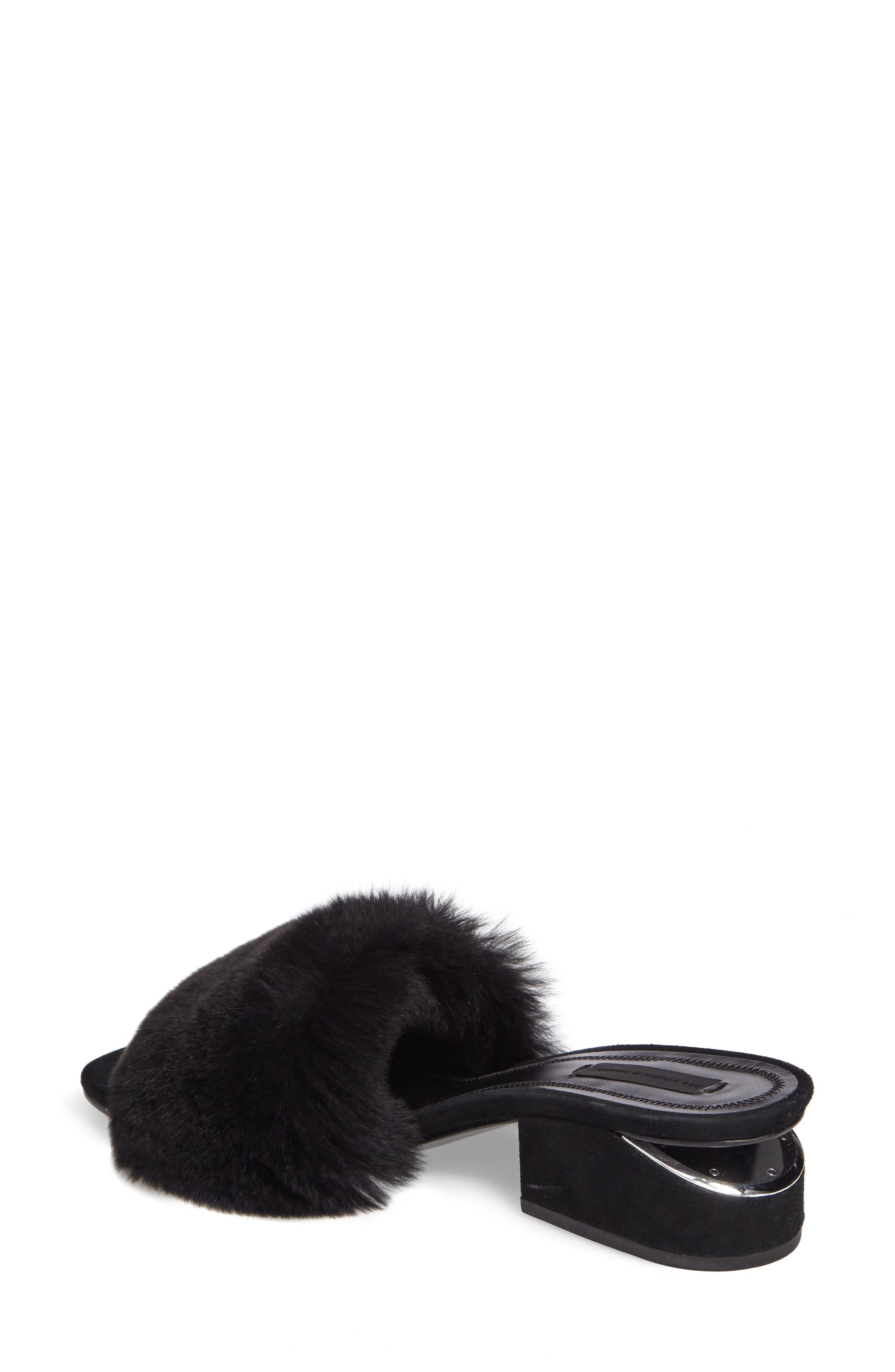 Lou Genuine Rabbit Fur Slide,                             Alternate thumbnail 2, color,                             Black