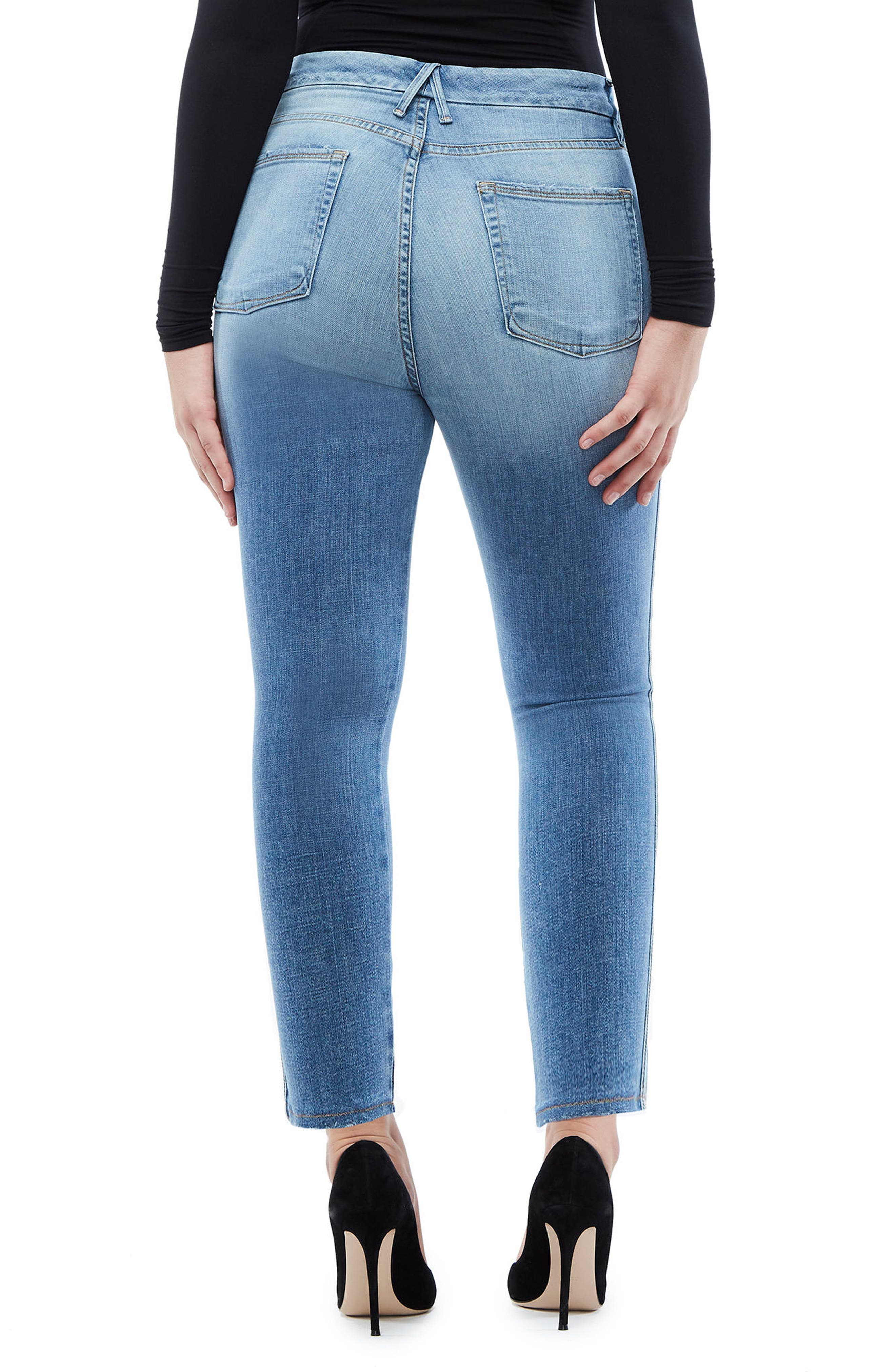 Good Waist Athletic Stripe High Waist Ankle Straight Leg Jeans,                             Alternate thumbnail 3, color,                             Blue121
