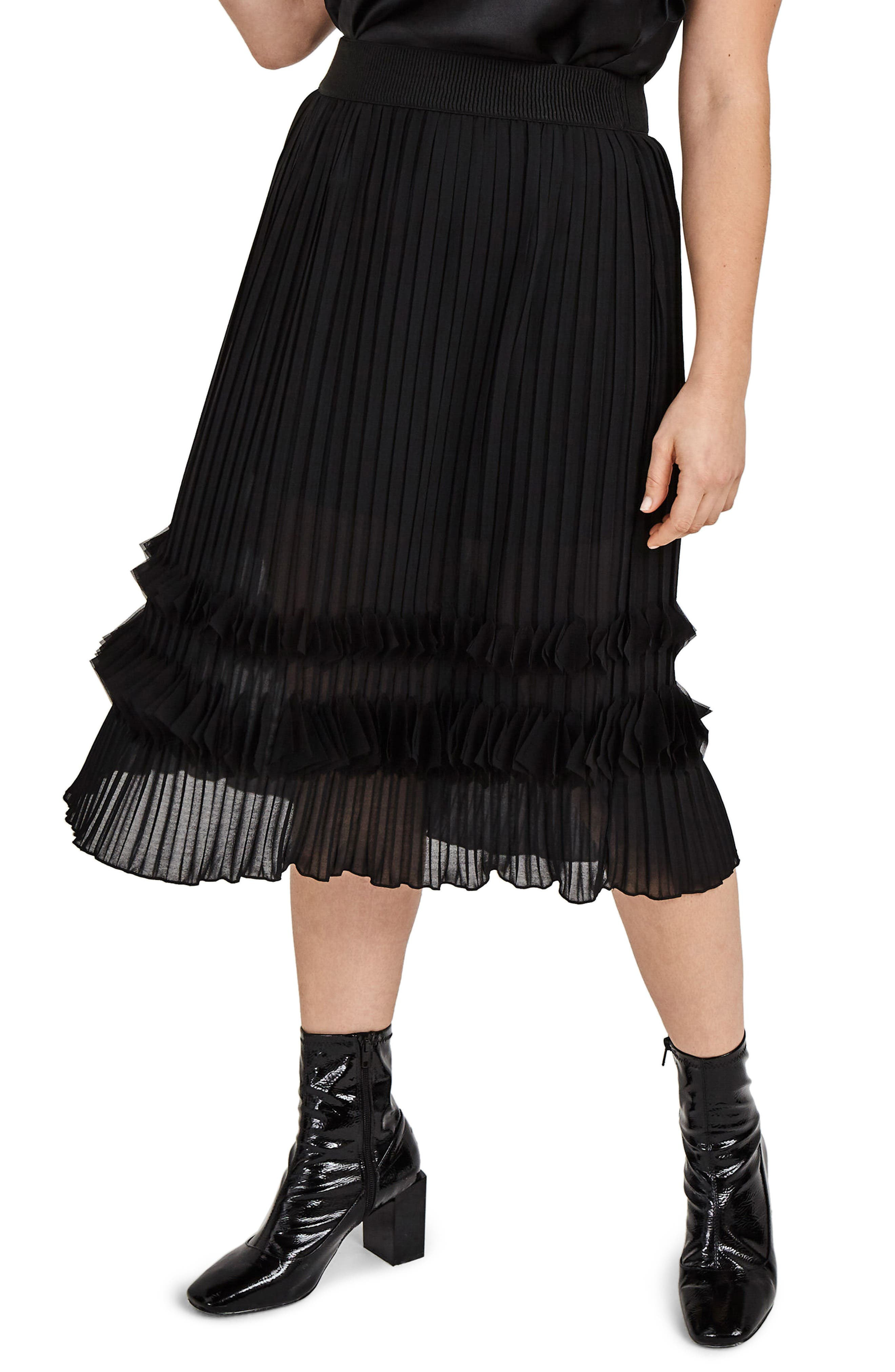 ELVI Pleated Chiffon Midi Skirt (Plus Size)