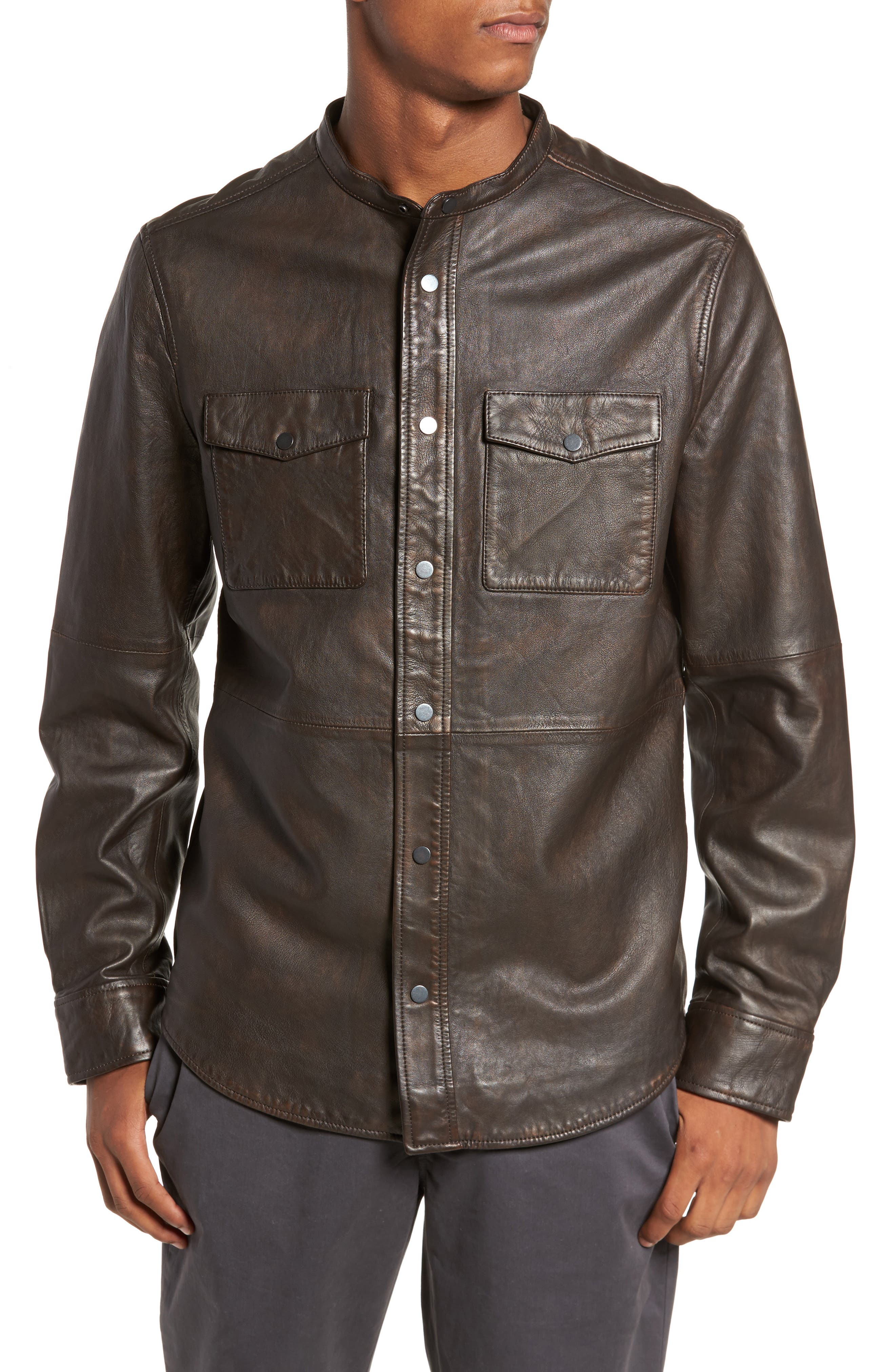 Atwater Leather Shirt Jacket,                             Alternate thumbnail 4, color,                             Brown Chicory
