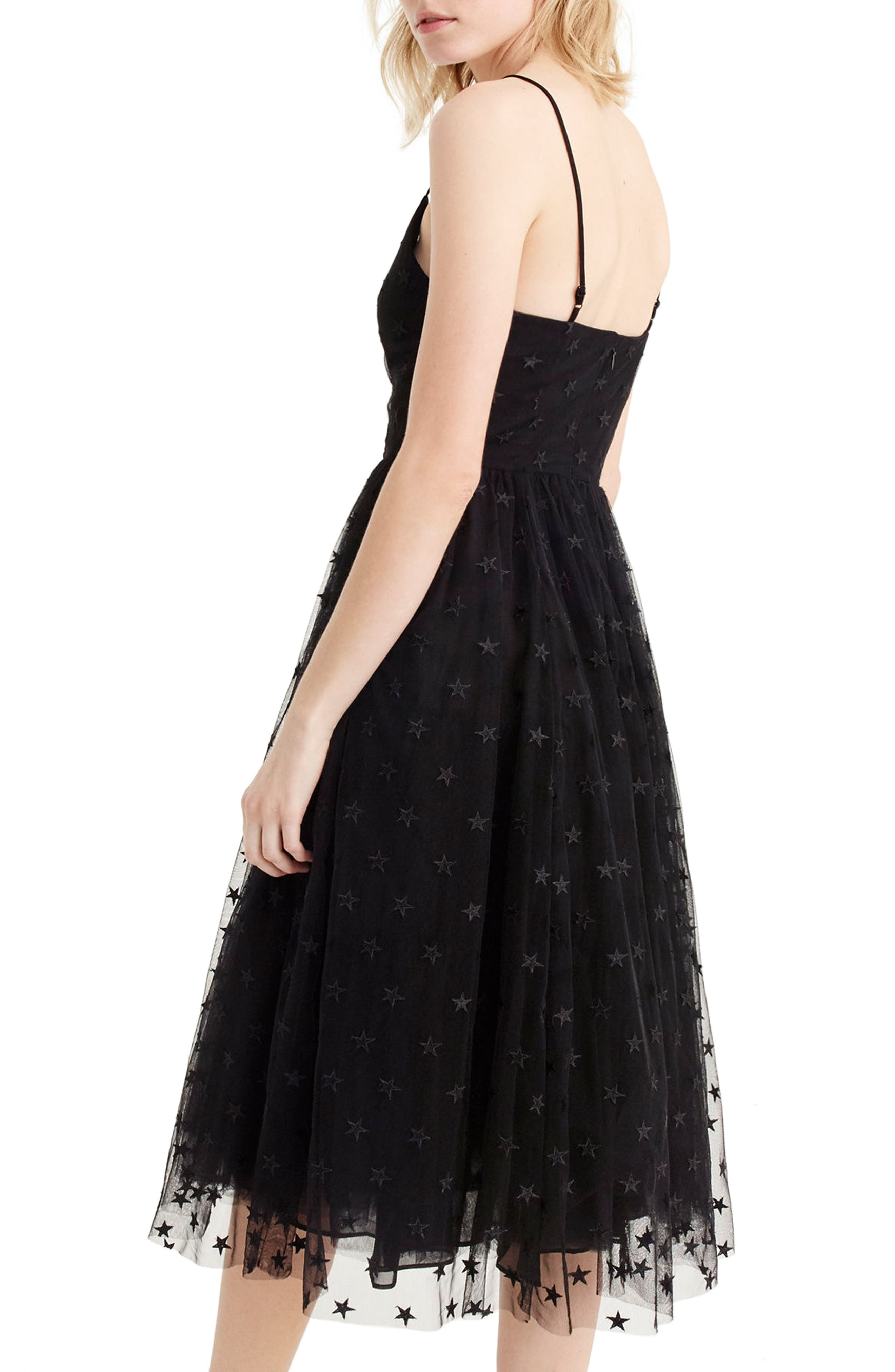J.Crew Spaghetti Strap Star Tulle Dress,                             Alternate thumbnail 2, color,                             Black