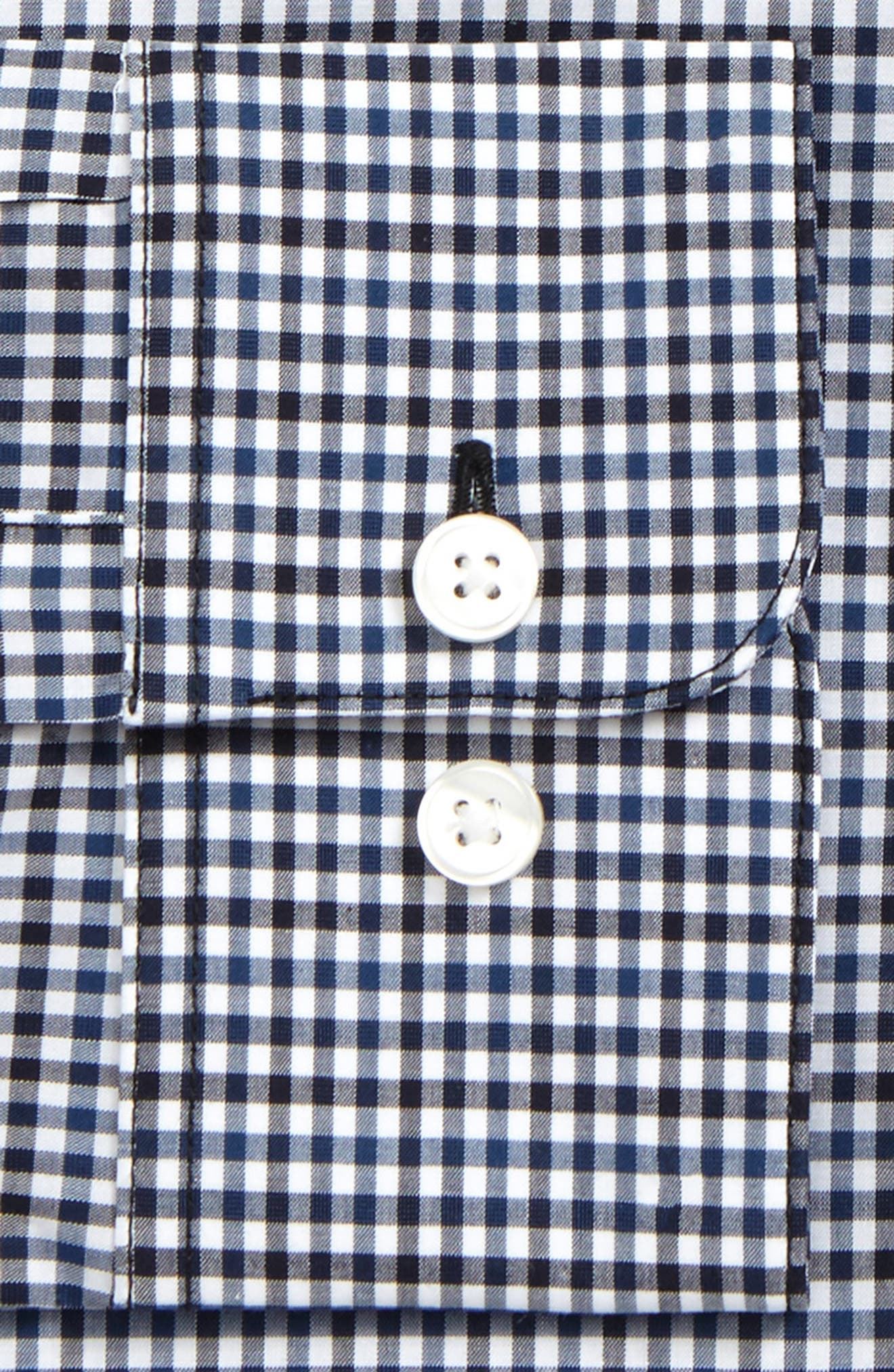 Regular Fit Stretch Check Dress Shirt,                             Alternate thumbnail 2, color,                             Navy