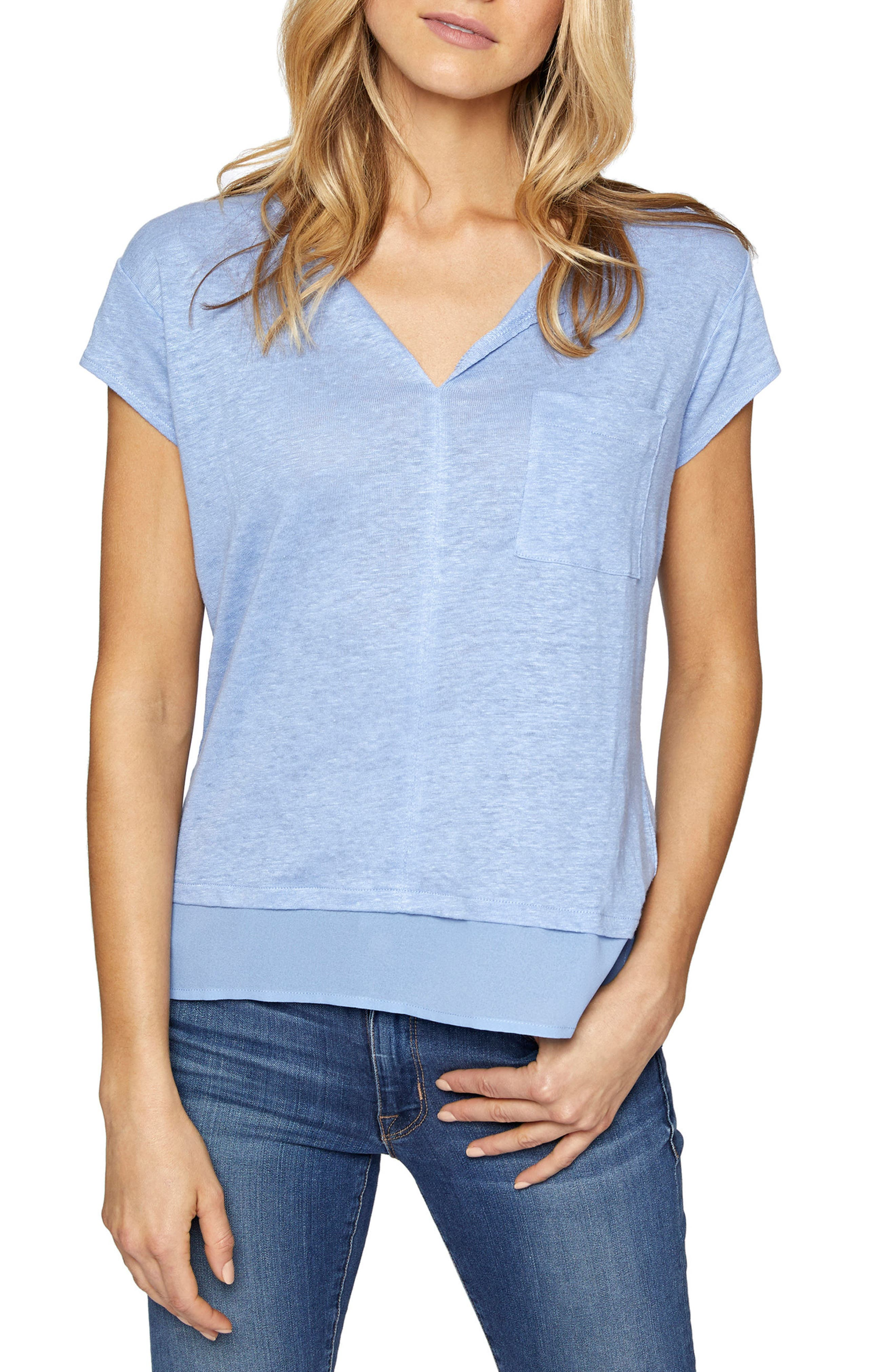 City Mix Layered Look Tee,                             Main thumbnail 1, color,                             Icy Blue