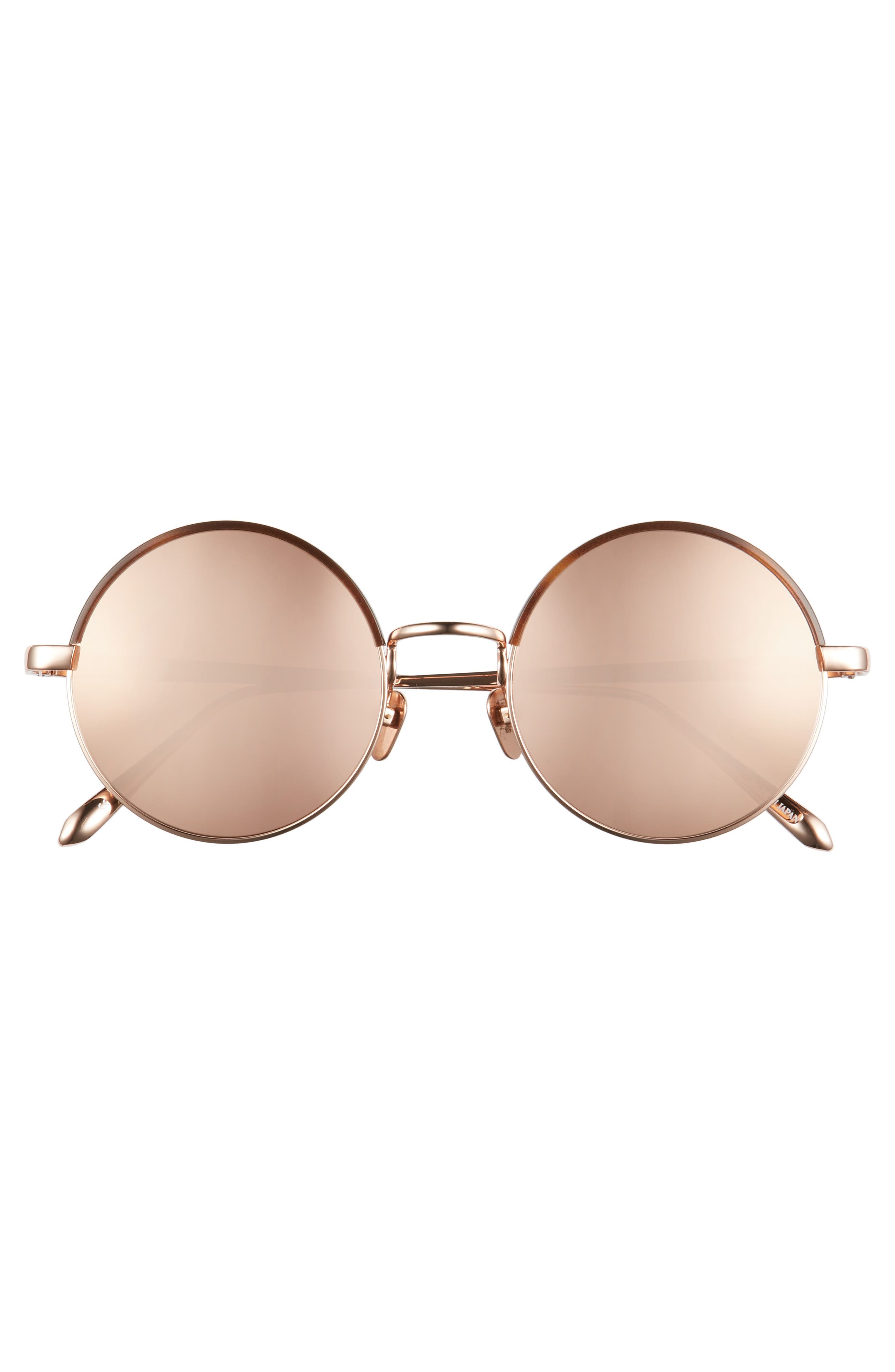 Alternate Image 3  - Linda Farrow 51mm Mirrored 18 Karat Gold Trim Round Sunglasses