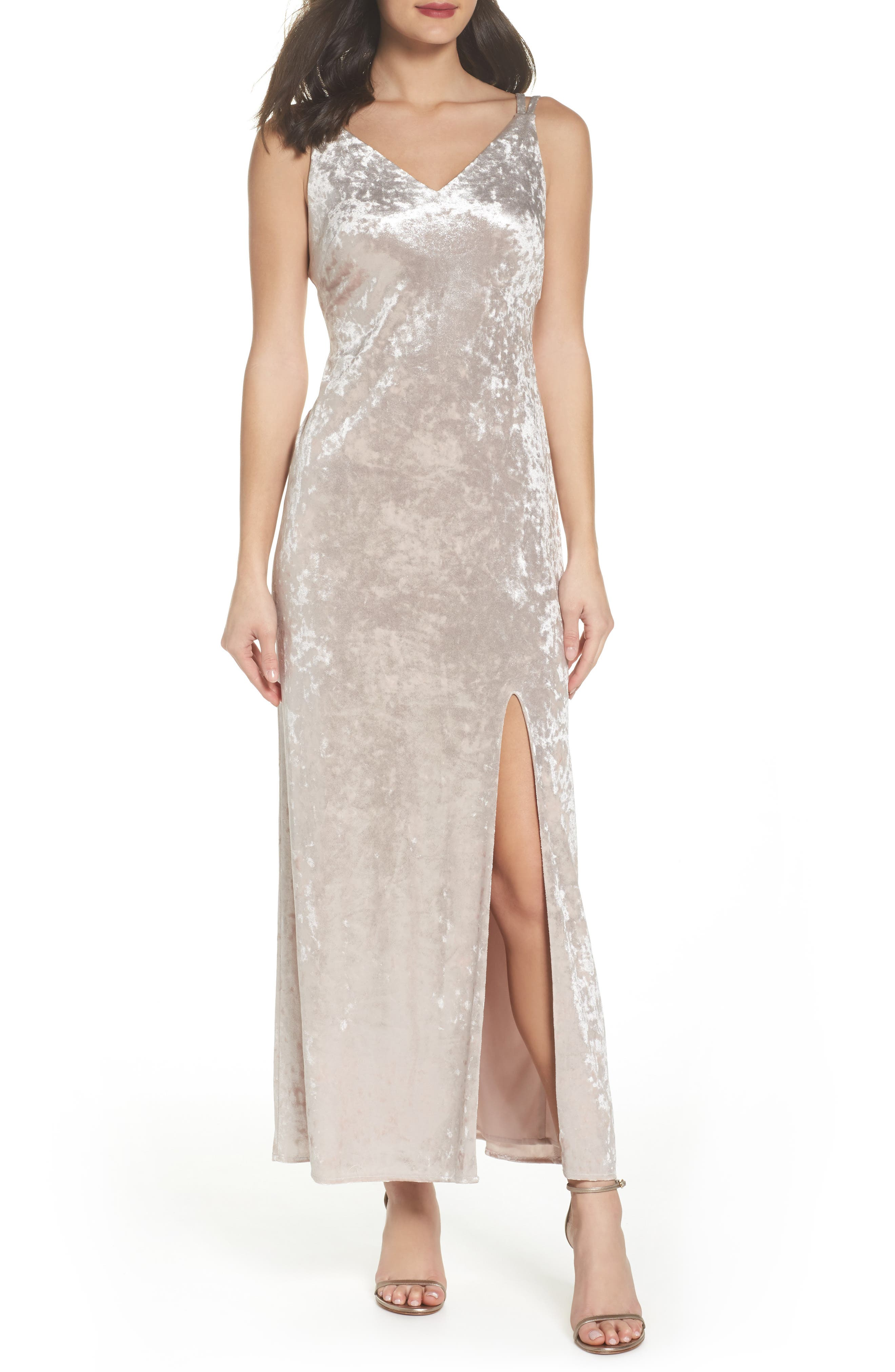 Strappy Velvet Gown,                         Main,                         color, Champagne