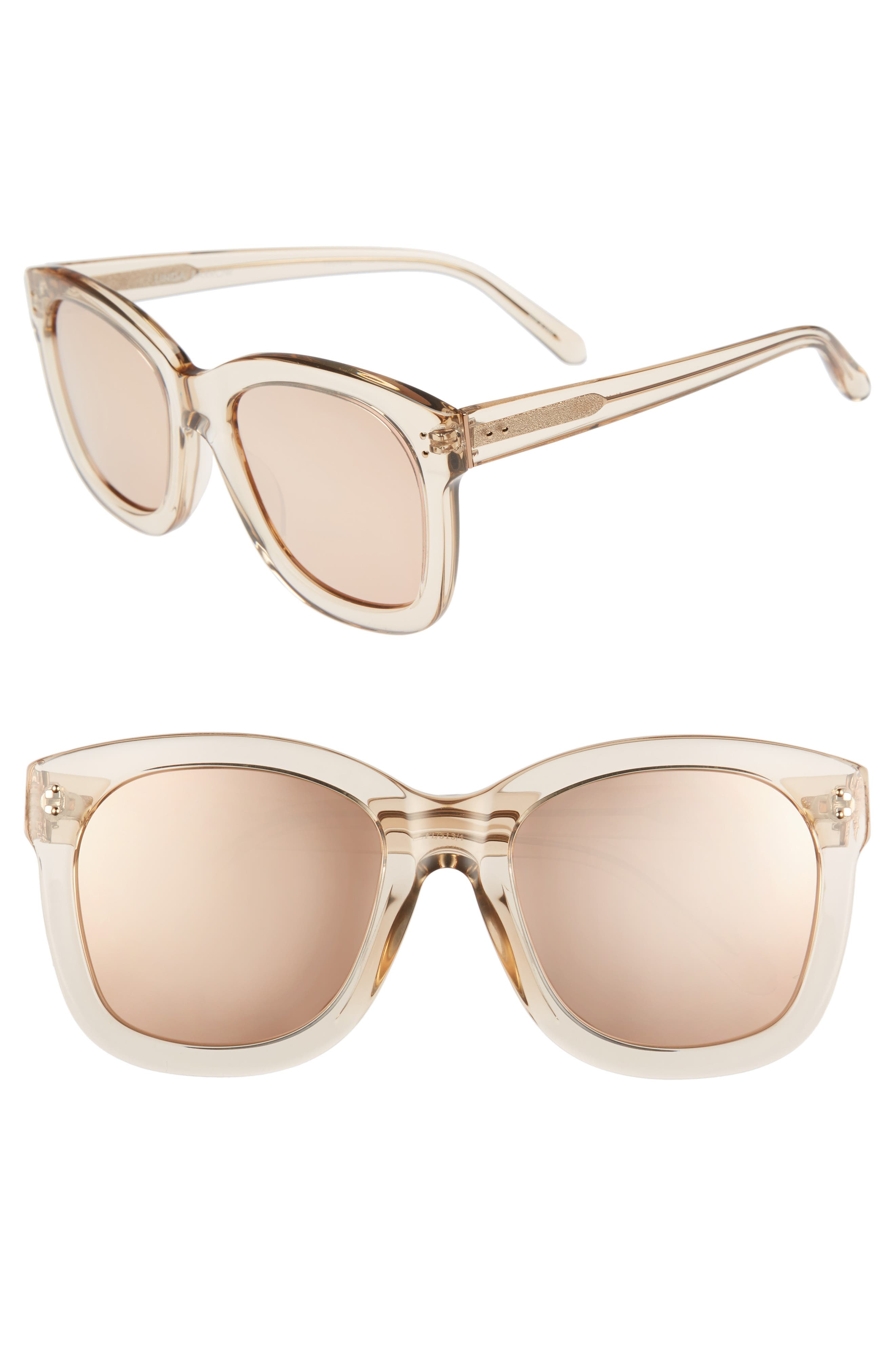 56mm Mirrored Sunglasses,                         Main,                         color, Ash/ Rose Gold
