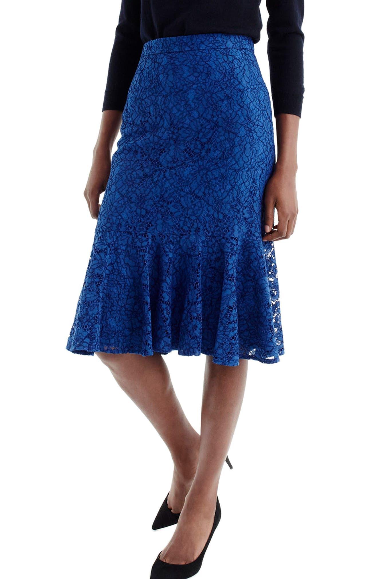 J.Crew Lace Trumpet Skirt,                             Main thumbnail 1, color,                             Baroque Blue