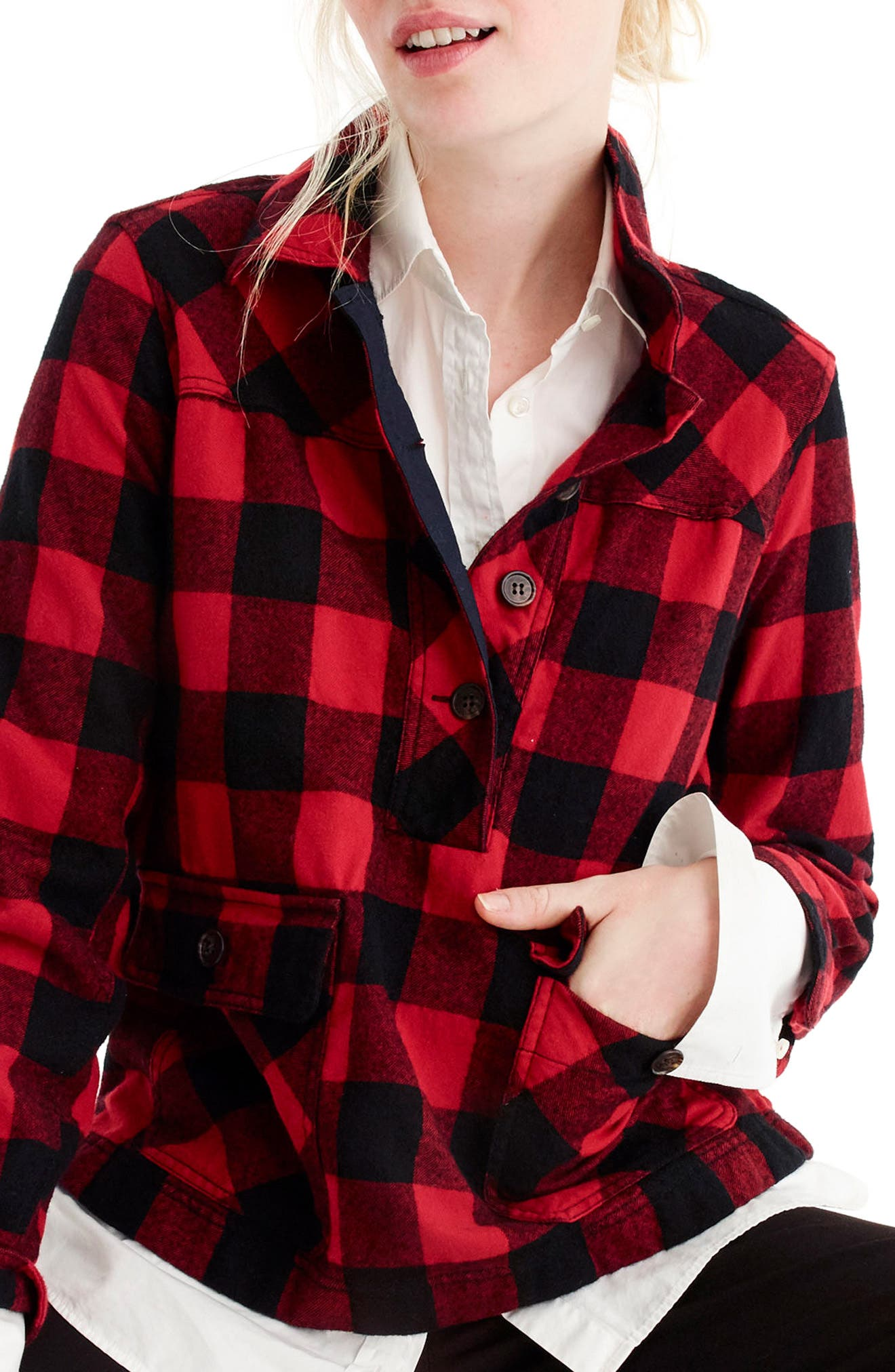 Buffalo Check Shirt Jacket,                         Main,                         color, Red/ Black